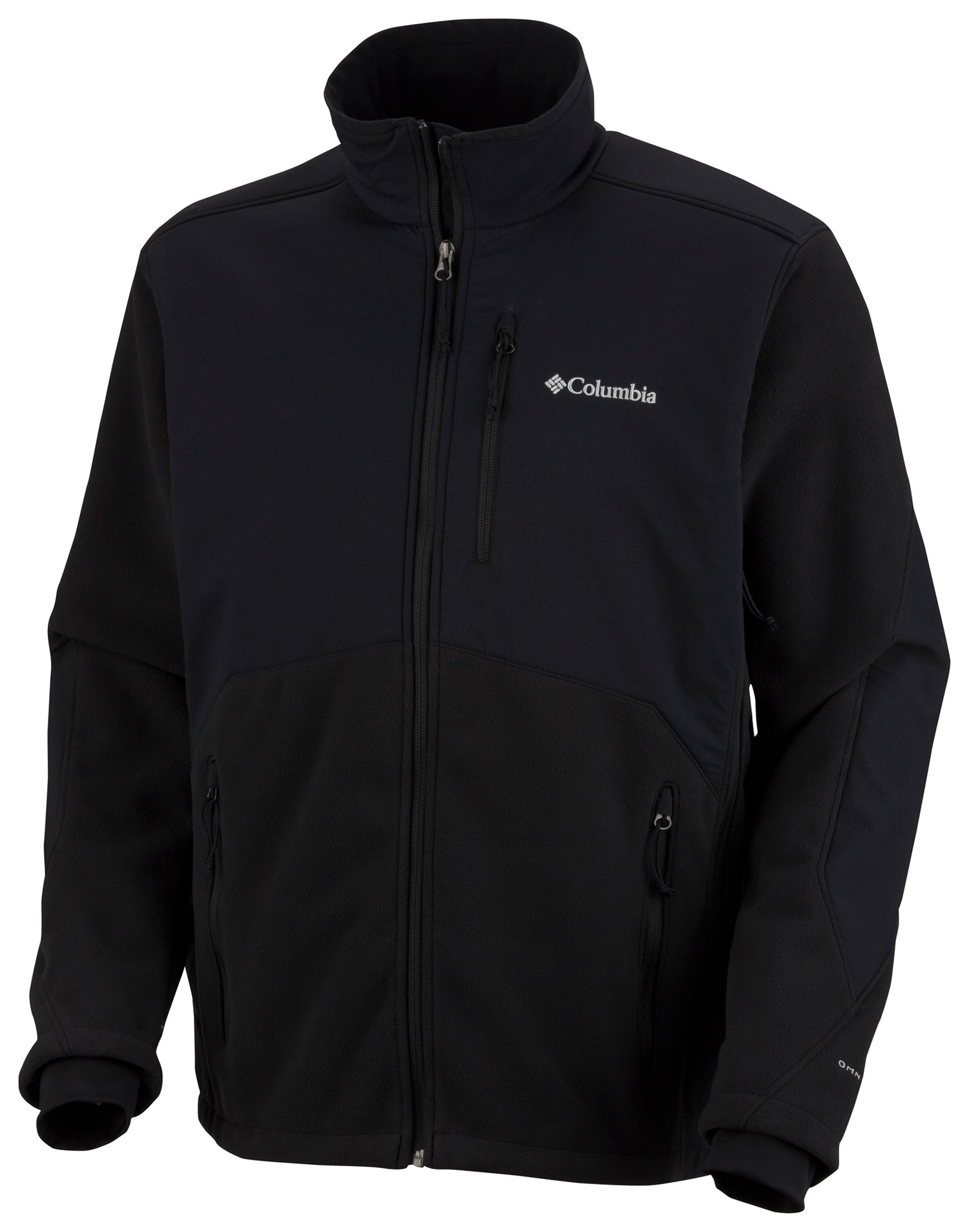 Key Features of the Columbia Ballistic Fleece Jacket: Fabric: Shell: 100% polyester, 94% nylon/6% elastane. Lining: 92% polyester/8% elastane stretch jersey 3-point Interchange system Windproof bonded fleece Vented Inner comfort cuff Zip-closed pockets Drawcord adjustable hem - $99.95