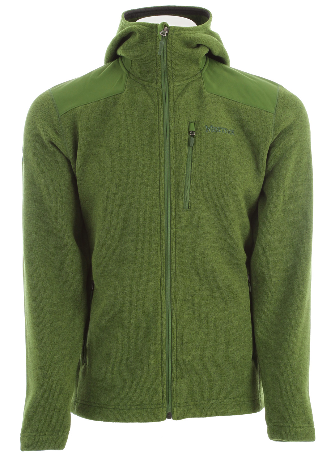 The Norhiem may have the good looks of a wool sweater, but it's made from easy-care polyester fleece. The jacket has a sweater knit exterior that's smart around town; durable nylon reinforcements offer protection. Zippered chest and handwarmer pockets secure valuables. Elastic drawcord hem blocks out chilly drafts.Key Features of the Marmot Norhiem Hoody Fleece: Sweater Knit Fleece Nylon Reinforcement Zippered Chest Pocket Zippered Handwarmer Pockets Elastic Draw Cord Hem - $102.95
