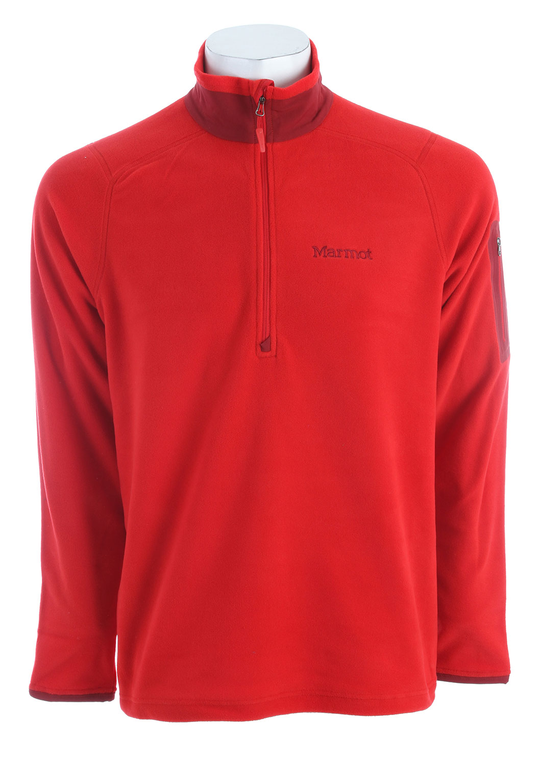 "This very lightweight and comfortably warm Marmot Reactor 1/2 Zip Fleece pullover is great for wearing out to jog, walk, or causally play during the beautiful fall seasons. With a regular fit, made mostly with polyester micro fleece and Polartec Classic 100, this pullover will most certainly warm your body. The sleeve pocket zips close, and the front center pocket has a 12 inch zip closure. Designed to keep the draftiness out, the 1/2 Zip Fleece layers over any type of clothing without feeling bulky.Key Features of the Marmot Reactor 1/2 Zip Fleece:  Weight 0lbs 9.3oz (263.7g   Materials Polartec Classic 100 100% Polyester Micro Fleece 4.6 oz/yd  Center Back Length 27.75in  Fit Regular Fit  Polartec Classic 100 Micro  Flat Lock Construction  12"" Center Front Zip  Bonded Zippered Sleeve Pocket - $62.95"