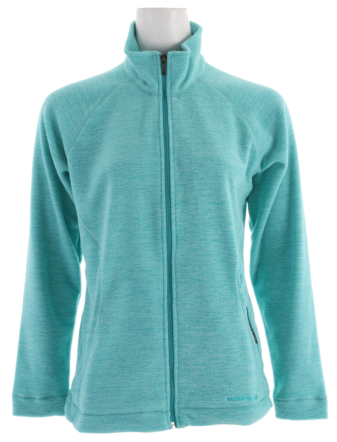 "Hide from the cold in the soft warmth of our Zaida Full Zip fleece full-zip, simply beautiful enough to inspire you to get outside every day. Made with a high collar to give you extra neck and face coverage, and dual zip-secure hand pockets.Key Features of the Merrell Zaida Full Zip Fleece: FABRIC: 60% cotton / 40% polyester Merrell Conductor lightweight thermal fleece provides versatile heat retention in varying conditions Princess seaming flatters and contours Higher collar lets you hide your face from the cold Dual zip-secure hand pockets 26"" Center back length - $68.95"