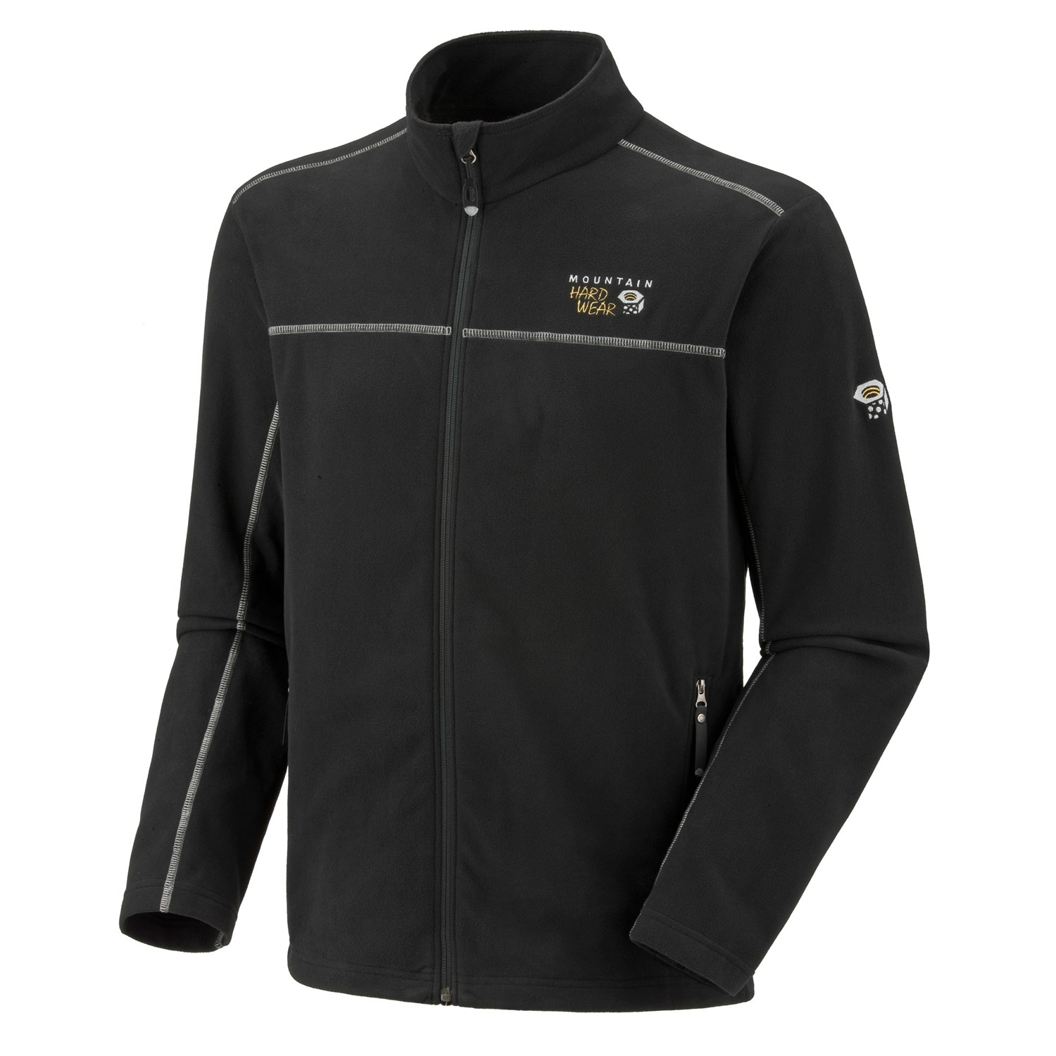"Key Features of the Mountain Hardwear Microchill Fleece: Avg. weight: 13 oz; 356g Center back length: 38.5"" Fabric: body: Velous Micro Fleece (100% polyester) Zippered handwarmer pockets Dual hem drawcords for quick fit adjustments Micro-Chamois - lined chin guard - $67.95"