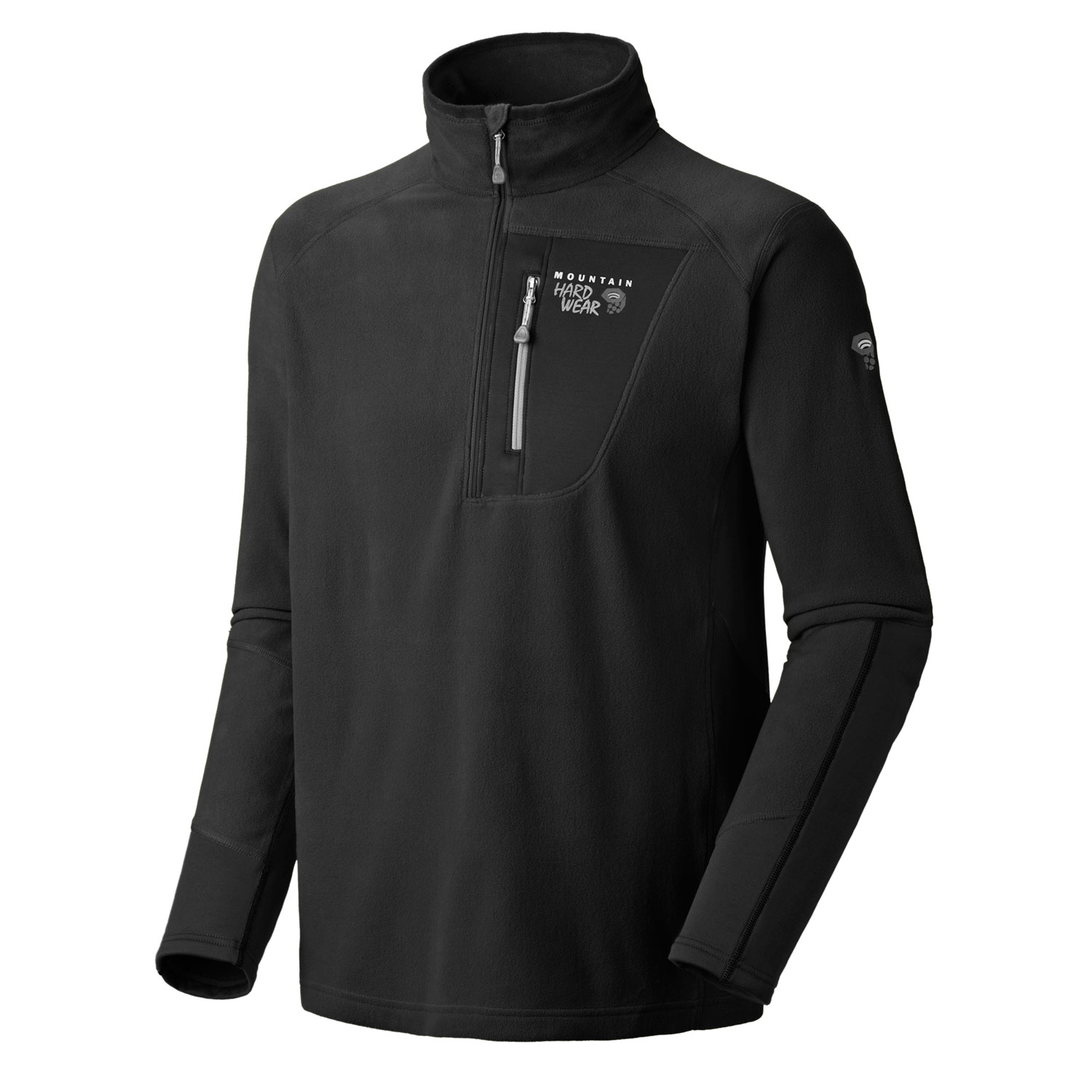 "Key Features of the Mountain Hardwear Microstretch Zip T Fleece Hoodie: Avg. weight: 11oz; 304g Center back length: 28.5"" Fabric: body: Velous Micro Fleece (100% polyester) panel: Technostretch (93% polyester/7% Elastane) New fabric Flat-lock construction for comfort Zip chest stash pocket High-cut collar with 12"" zip to vent heat - $65.95"