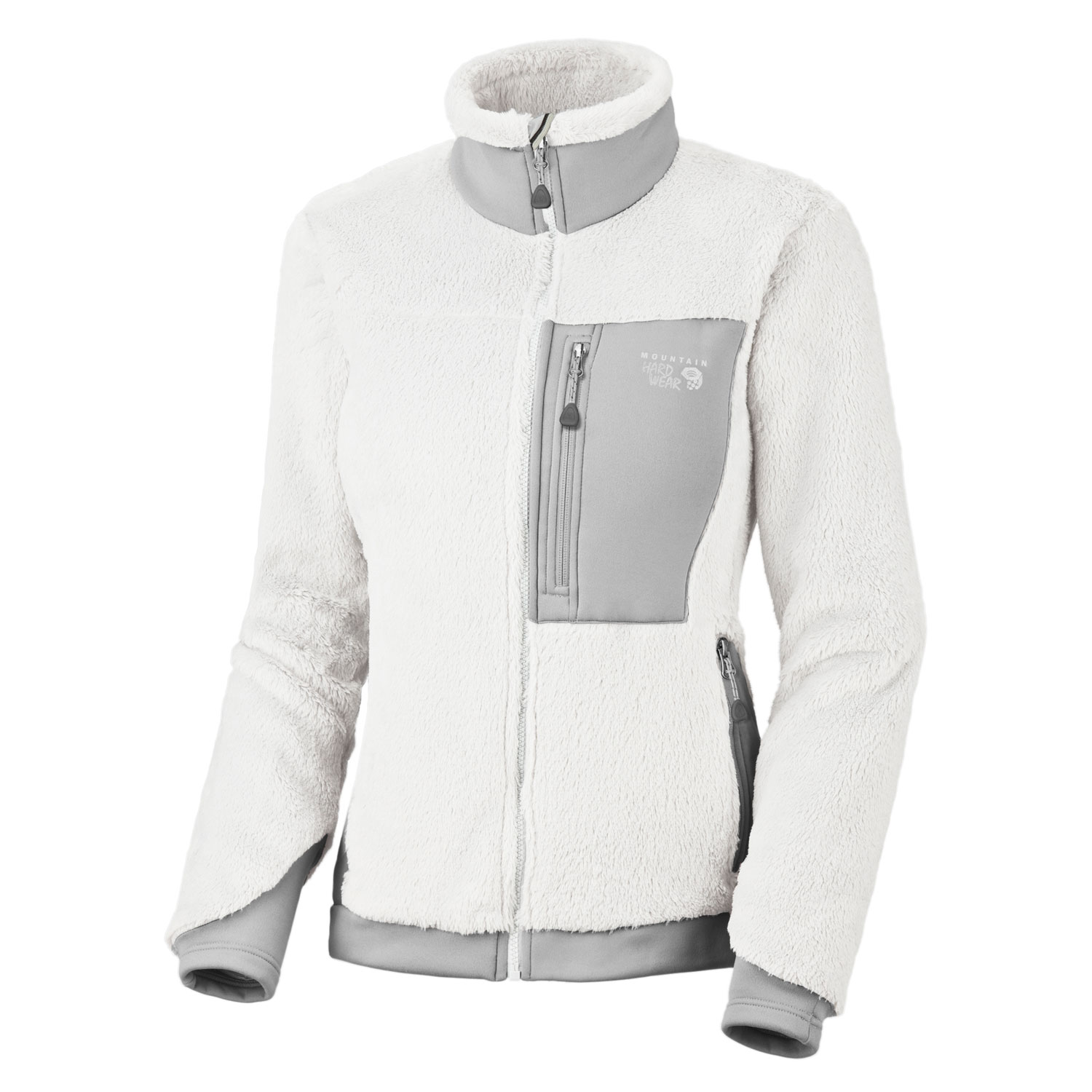 "Key Features of the Mountain Hardwear Monkey Woman Fleece: Avg. weight: 15oz; 430g Center back length: 26"" Fabric: body: Polartec ThermalPro Monkey Phur (100% polyester) panel: Polartec Power Stretch (88% polyester, 12% Elastane) MicroClimate Zoning construction for built-in warmth, breathability and stretch Extremely soft, extremely warm Stretch hem and cuffs seal in warmth Zip handwarmer pockets Chest pocket for maps, snacks, and other goodies - $119.95"