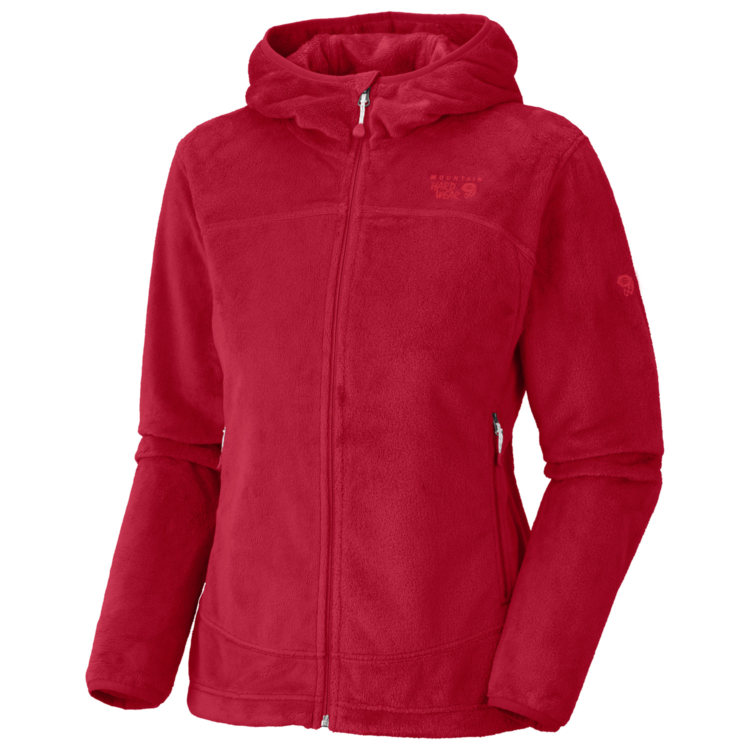 Soft luscious and lightweight, with feminine lines and an athletic fit High loft velboa fleece is super soft and feminine, and still technical.Key Features of the Mountain Hardwear Pyxis Hoody Fleece: Material: 100% polyester Voluptuous(TM) VelboaZip handwarmer pocketsFleece lined chin guardFitted hoodDual hem drawcordsFeminine athletic fitWeight: 14.7 oz - $89.95