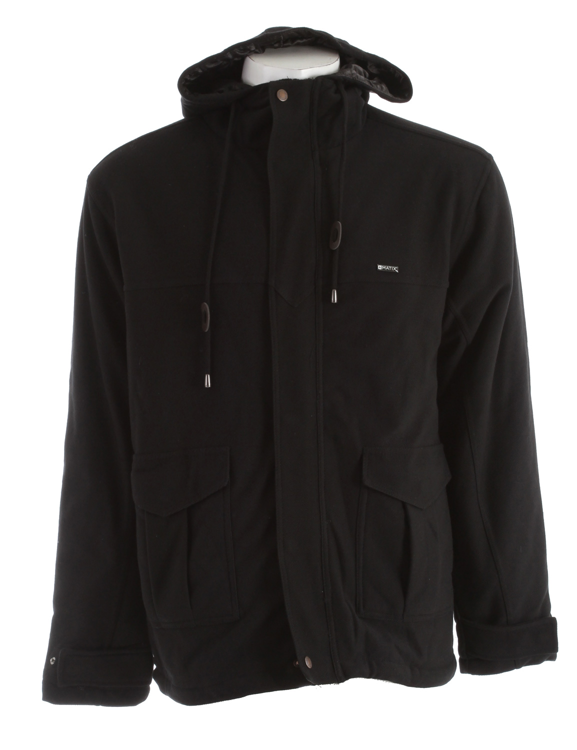 Key Features of the Matix Mueller Fleece Jacket: Zip front with snap button overlay Matix labeling Drawstring hood Front hand pockets Quilted nylon lining 60% cotton/40% polyester - $54.95