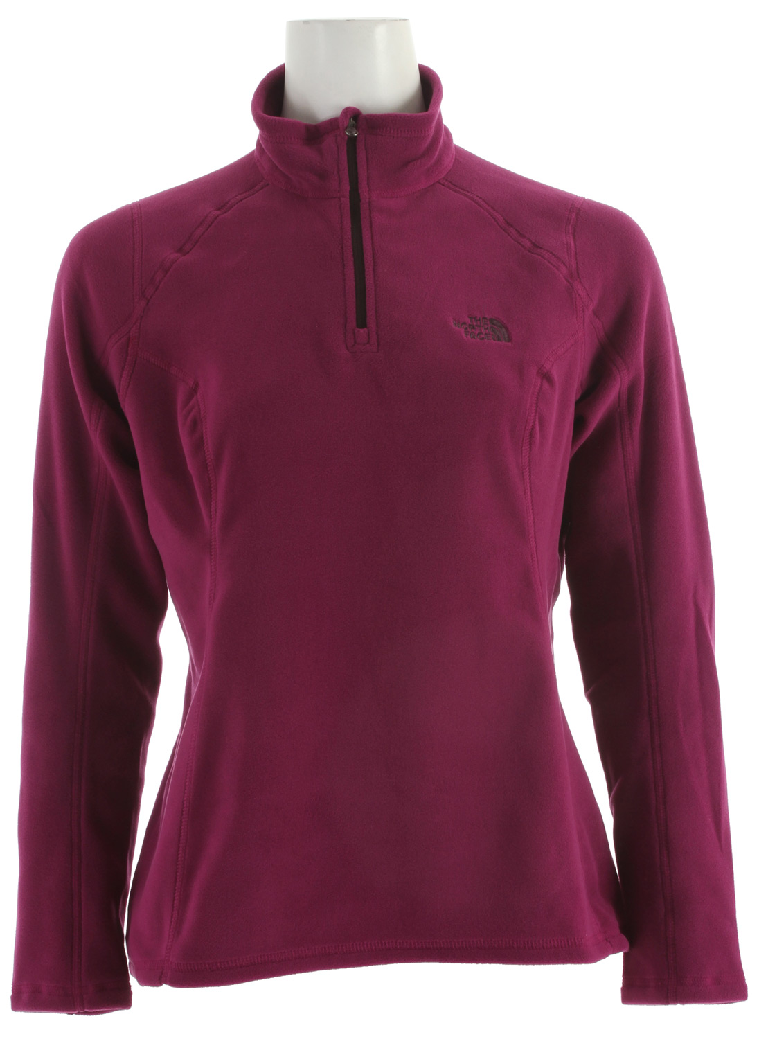 "Top-selling TKA 100 fleece pullover in new silhouette and upgraded Polartec Classic 100 is perfect for cool-weather layeringKey Features of the The North Face TKA 100 Microvelour Glacier 1/4 Zip Fleece: Unique microfibers provide an unparalleled soft hand feel Ultraviolet Protection Factor (UPF) 30 Proves 10% more warmth and is 50% more thermally efficient than original TKA 100 at 27% less weight 24% more breathable and 18% more compressible, providing 14 cu. in. of pack space savings Provides warmth without the weight and bulk of traditional insulating fabrics Dries quickly to minimize heat loss Pill-resistant face and back Feminine silhouette with 1"" drop tail - $43.95"