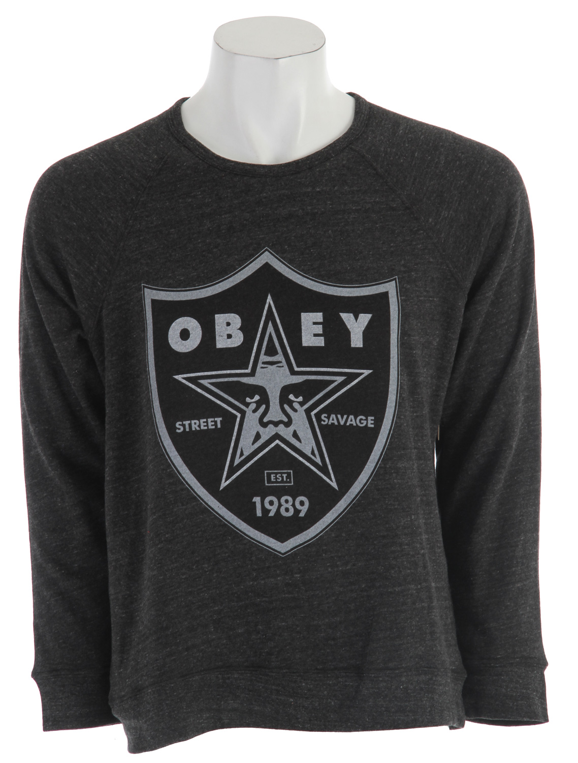 Lofty crew neck fleece with burn out graphic on chest. 50% polyester (6.25% recycled)/46% cotton (6.25% organic)/4% naturally occurring rayon - $38.95