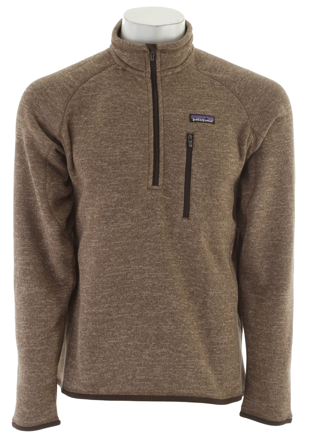 Wake A rugged, 1/4-zip fleece pullover that combines the aesthetic of wool with the easy care of polyester fleece. Wake up, check the buoys, slip on the Better Sweater 1/4-Zip and go. It's built of 9.5-oz polyester with a sweater-knit exterior and a fleece interior that creates an easy-wearing, moisture-wicking, bulk-free piece for handling the colder parts of the day. The stand-up collar has a zipper garage; raglan side and back seams make for a classic shape. Micro-polyester jersey trim at the collar, cuffs and hem wicks sweat, and a vertical zippered chest pocket secures keys and cash.Key Features of the Patagonia Better Sweater 1/4 Zip Fleece: Regular fit Fabric has a sweater-knit face, fleece interior and heathered yarns 1/4-zip pullover with stand-up collar and zipper garage Raglan sleeves for pack-wearing comfort Zippered chest pocket Micropolyester jersey trim on cuffs, hem and back of neck Can be worn with layers as outerwear in cold conditions, or as a midlayer under a shell jacket Hip length 9.5-oz 100% polyester with a sweater-knit exterior and a fleece interior 490 g (17.3 oz) Made in Thailand. - $89.95