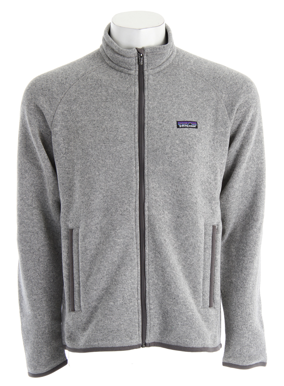 A soft, full-zip polyester fleece jacket that has a sweater-knit face and a warm fleece interior. fabric: 9.5-oz 100% polyester with a sweater-knit exterior and fleece interiorKey Features of the Patagonia Better Sweater Jacket Fleece: Fabric has a sweater-knit face, fleece interior and heathered yarns Full-zip jacket with zip-through, stand-up collar and zipper garage Raglan sleeves for pack-wearing comfort Two zippered handwarmer pockets Micropolyester jersey trim on cuffs, hem and back of neck Can be worn with layers as outerwear or as a midlayer under a shell Hip length - $103.95