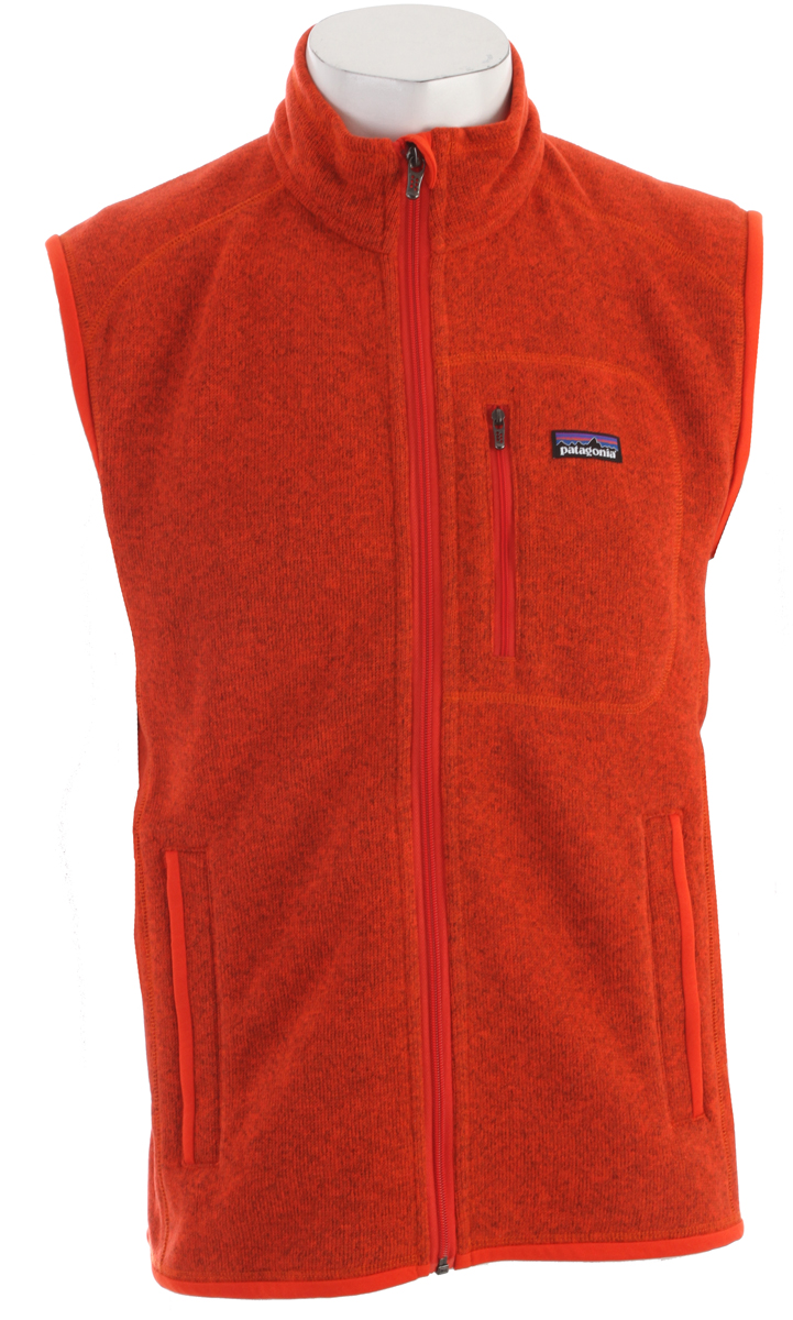Warmth without bulk, our Better Sweater Vest has a wool-like knit face, luxurious fleece interior and the rugged durability of polyester fleece FABRIC: 9.5-oz 100% polyester with sweater-knit exterior and fleece interiorKey Features of the Patagonia Better Sweater Vest: Regular fit Fabric has a sweater-knit face, fleece interior and heathered yarns Full-zip vest with zip-through stand-up collar and zipper garage Offset shoulder seams for pack-wearing comfort Zippered pockets: vertical chest and two handwarmers Micropolyester jersey fabric trims the armholes, hem and back of neck Can be worn with layers as outerwear or as a midlayer under a shell Hip length - $74.95