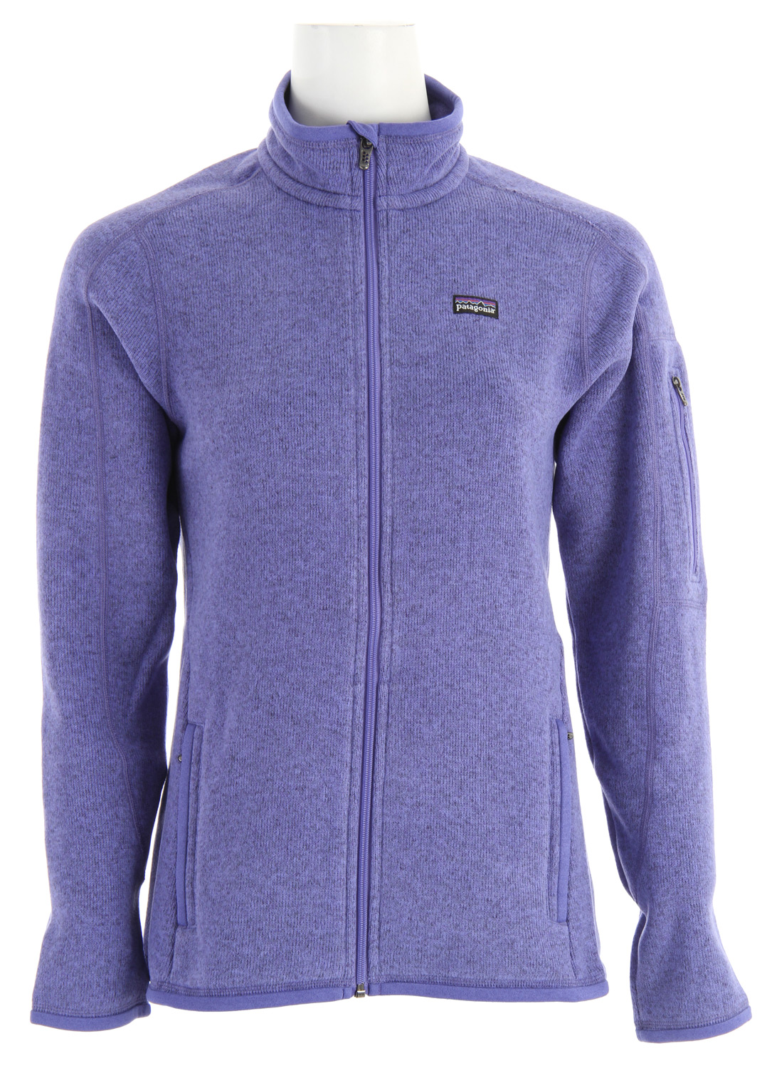 Warm polyester fleece meets your favorite sweater in the Better Sweater Jacket. fabric: 9.5-oz 100% polyester with sweater-knit exterior and fleece interiorKey Features of the Patagonia Better Sweater Jacket Hydrangea/Deep Purple Xdye: Fabric has a sweater-knit face, fleece interior and heathered, overdye yarns with a knit-like texture Front zipper has a wind flap and a zipper garage Zippered handwarmer pockets; interior drop-in pockets Micro polyester jersey fabric trims the wind flap, pockets, cuffs and hem Hip length - $129.00