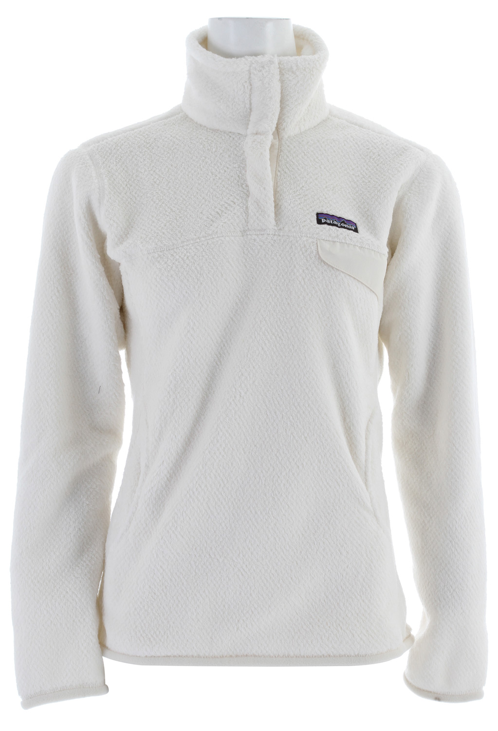 A Polartec Thermal Pro polyester fleece pullover with feminine seaming and a kangaroo handwarmer pocket. fabric: 9.3-oz Polartec Thermal Pro 100% polyester fleeceKey Features of the Patagonia Re-Tool-Snap-T Pullover Pearl/White/Xdye: High-pile fleece has extra-long fibers to retain warmth Stand-up collar; front placket hides the 4-snap closure and is reinforced with Supplex® nylon Kangaroo handwarmer pocket; chest pocket secures with Supplex snap flap Yoke and princess seams add contour and shape Hip length - $109.95