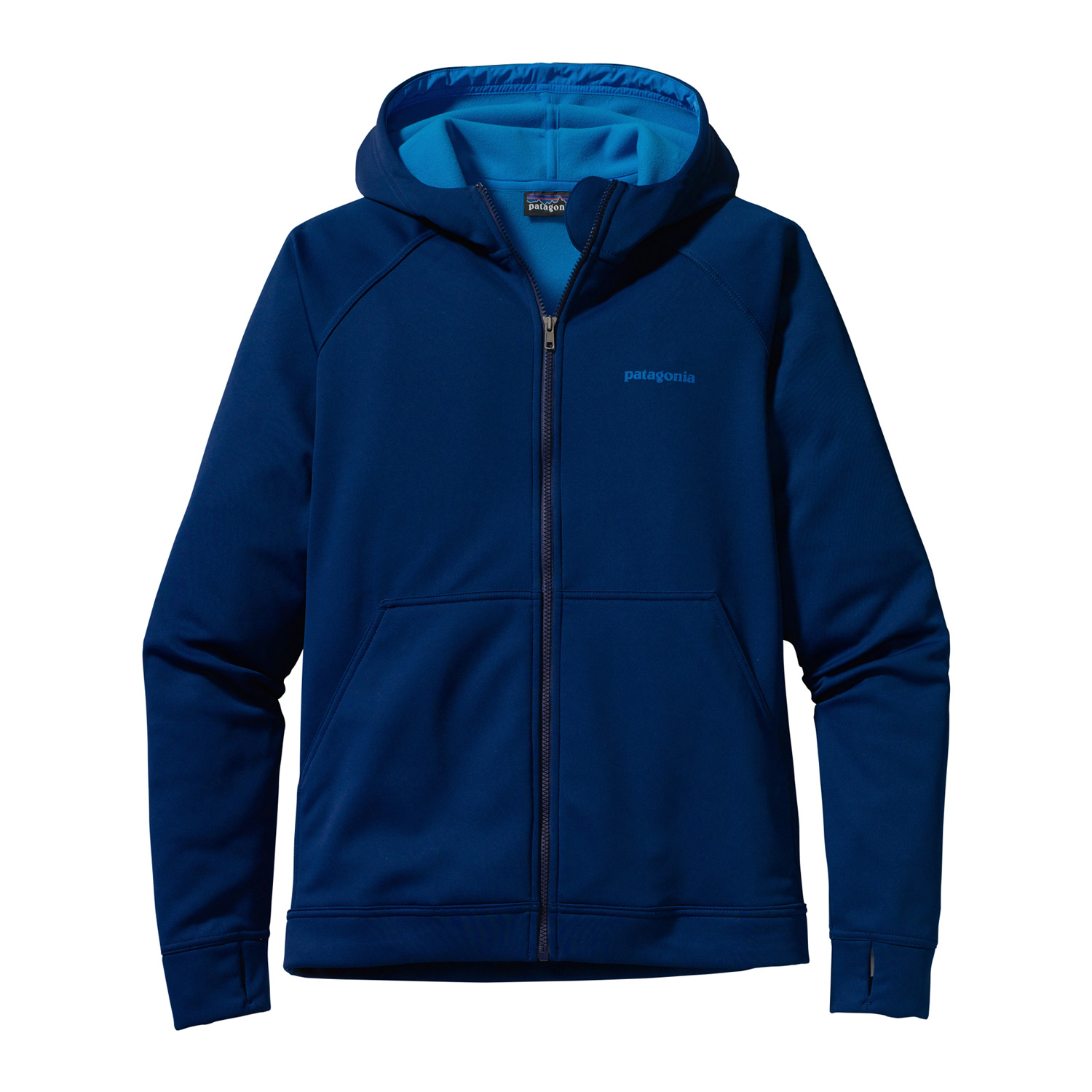 Made of water-resistant polyester knit and microfleece, the Patagonia Slopestyle Softshell is your go-anywhere hoody, from pre-dawn waxing sessions to high-noon corn runsKey Features of the Patagonia Slopestyle Softshell Jacket: Soft and stretchy polyester face is treated with a Deluge DWR (durable water repellent) finish to shed moisture and light snow Brushed fleece interior; high collar design for warmth and neck protection Fleece-lined hood is nice and cozy; not helmet-compatible Cuffs feature thumb-loops to ensure total wrist coverage Hem can cinch on extra chilly days to keep the cold out; drawcord exits into hand pockets for easy adjustments Pockets: Two handwarmers, each with a hidden security pocket Relaxed fit (20.5 oz) 581 g Fabric: 7.5-oz 100% polyester knit bonded to polyester microfleece with a Deluge DWR finish - $90.95
