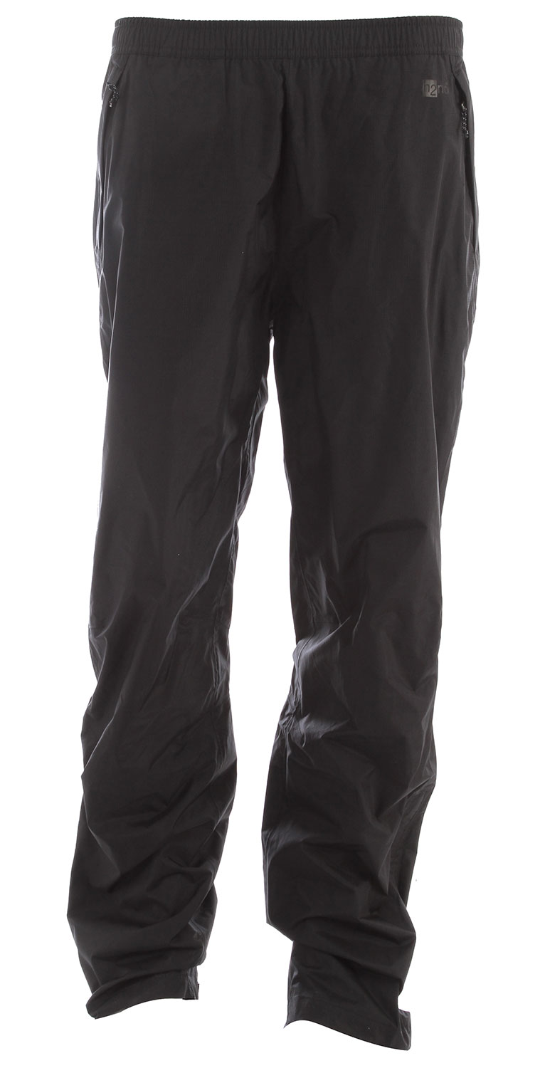 Camp and Hike Pared-down and packable, Torrentshell Pants offer H2No Performance Standard 2.5-layer nylon waterproof/breathable protection for seriously wet weather    FABRIC: H2No Performance Standard shell: 2.5-layer, 2.6-oz 50-denier 100% nylon ripstop with a waterproof/breathable barrier and a Deluge    DWR (durable water repellent  finishKey Features of the Patagonia Torrentshell Pants:  Regular fit  H2No Performance Standard shell with waterproof/breathable 2.5-layer  nylon ripstop repels moisture  Pull-on, elasticized waist band with internal drawcord adjustment  Pockets: two zippered handwarmers and zippered right rear pocket, all have Deluge DWR-treated zippers, storm flaps and mesh pocket bags  Articulated knees  Adjustable, self-fabric hook-and-loop closure at ankle with Deluge DWR-treated zipper and storm flap on lower leg  Pants stow in self-stuff left handwarmer pocket with clip-in loop - $99.00