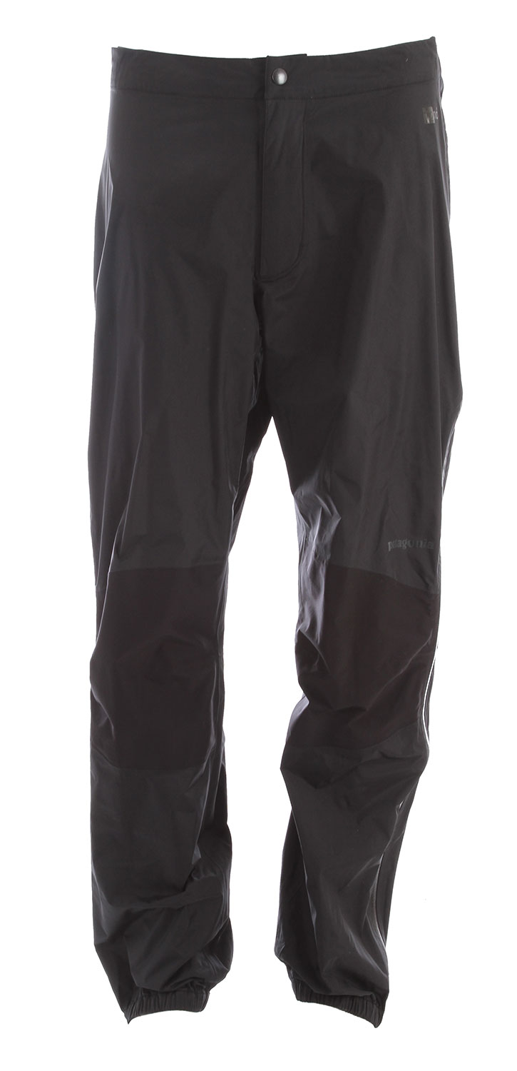 Camp and Hike The Torrentshell Stretch Pants are H2No Performance Standard 2.5-layer nylon ripstop waterproof/breathable hard shells with generous stretch at the knees for protection and mobility in seriously wet weather. FABRIC: H2No Performance Standard shell: 2.5-layer, 2.4-oz 40-denier 100% nylon ripstop with a waterproof/breathable barrier and a Deluge DWR (durable water repellent) finish. Knees: Stretch H2No Performance Standard 2.5-layer, 4-oz 40-denier 100% nylon with a waterproof/breathable barrier and a Deluge DWR finish.Key Features of the Patagonia Torrentshell Stretch Pants: Regular fit H2No Performance Standard shell with waterproof/breathable 2.5-layer nylon ripstop repels moisture, while 2.5-layer stretch in articulated knee panels provides mobility Separating waist has watertight, zip fly with snap closure, partially elasticized waistband and snap tab closures at side zips Full-length, separating two-way side zips with watertight, coated zippers Elasticized cuffs with snap tab closures at ankles seal out moisture - $129.95