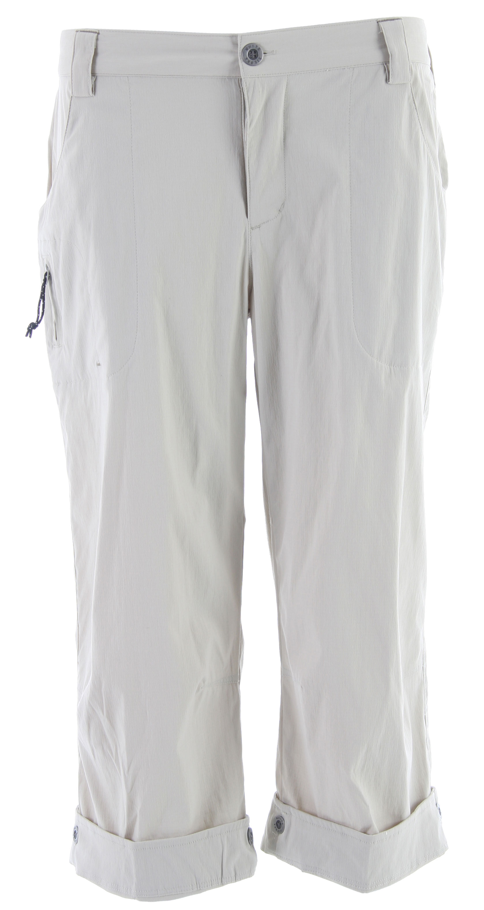 "Camp and Hike The Cache Creek Capri is our most durable hiking capri with built in UPF sun protection and quick drying fabric. Quick-drying nylon make these pants perfect for the beach, traveling, boating, or fishing.Key Features of the White Sierra Cache Creek Capri Pants:  94% nylon 6% elastane rip stop woven  Sun protection fabric  Comfort fit side elastic  Zip secure thigh pocket  Inseam: 22"" roll up to 20"" - $20.95"