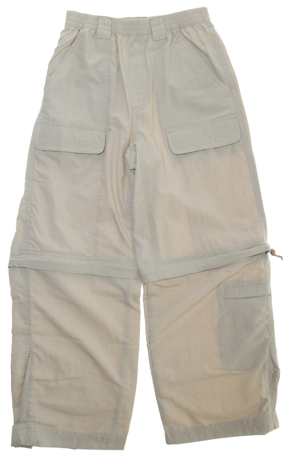 "Camp and Hike This versatile zip off pant easily transforms into shorts, making it perfect for all activities. The plethora of pockets will store all their gadgets and the lightweight fabric dries quickly should they get wet while playing in the lake.Key Features of the White Sierra Trail Convertible Pants: 100% nylon woven Convertible pant Comfort fit full elastic Pull on pant Velcro secure front cargo pockets Velcro secure back pockets UPF 30 Quick dry Short Inseam: 10"" Inseam: 25"" - $24.95"