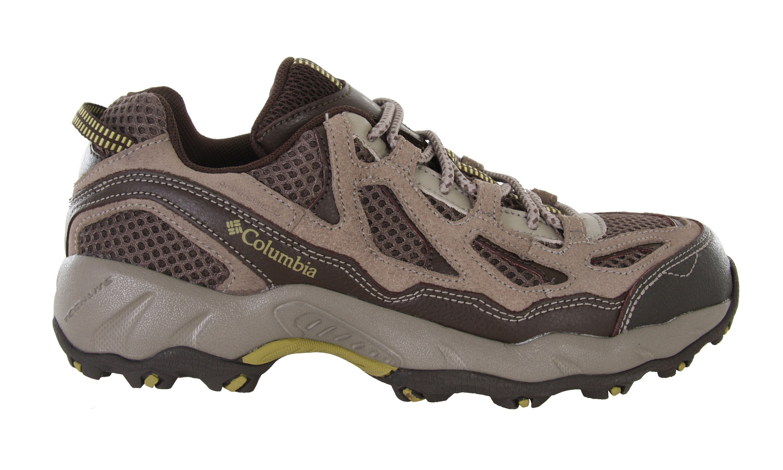 Camp and Hike This multi-sport performer is built for all-day wear on any trail, thanks to its Techlite[tm] molded midsole that delivers unprecedented lightweight comfort.With an upper constructed from coated leather, suede and breathable air mesh, your feet will feel supported and comfortable well after your legs start wearing out. Omni-Shield advanced repellency is a protective barrier against moisture and stains, while a gusseted tongue keeps debris from entering the shoe. A removable Contour Comfort footbed with AgION anti-odor treatment delivers custom cushioning and a nylon shank provides rigidity and support when hiking and scrambling. Sure footing on rocky, uneven surfaces is facilitated by Omni-Grip rubber outsoles with a trail-specific lug pattern. Key Features of the Columbia Dogwood Hiking Shoes: Coated leather and suede upper with breathable air mesh Omni-Shield advanced repellency for water and stain protection Gusseted tongue to prevent debris from entering shoe Scratch rubber toecap for abrasion resistance Contour Comfort footbed with AgION anti-odor treatment Techlite molded midsole for lightweight cushioning and comfort Nylon shank provides rigidity and support Lightweight non-marking Omni-Grip outsole with a rugged trail design Female-specific last Weight: 11.2oz/315g (One shoe; size 7) - $41.95