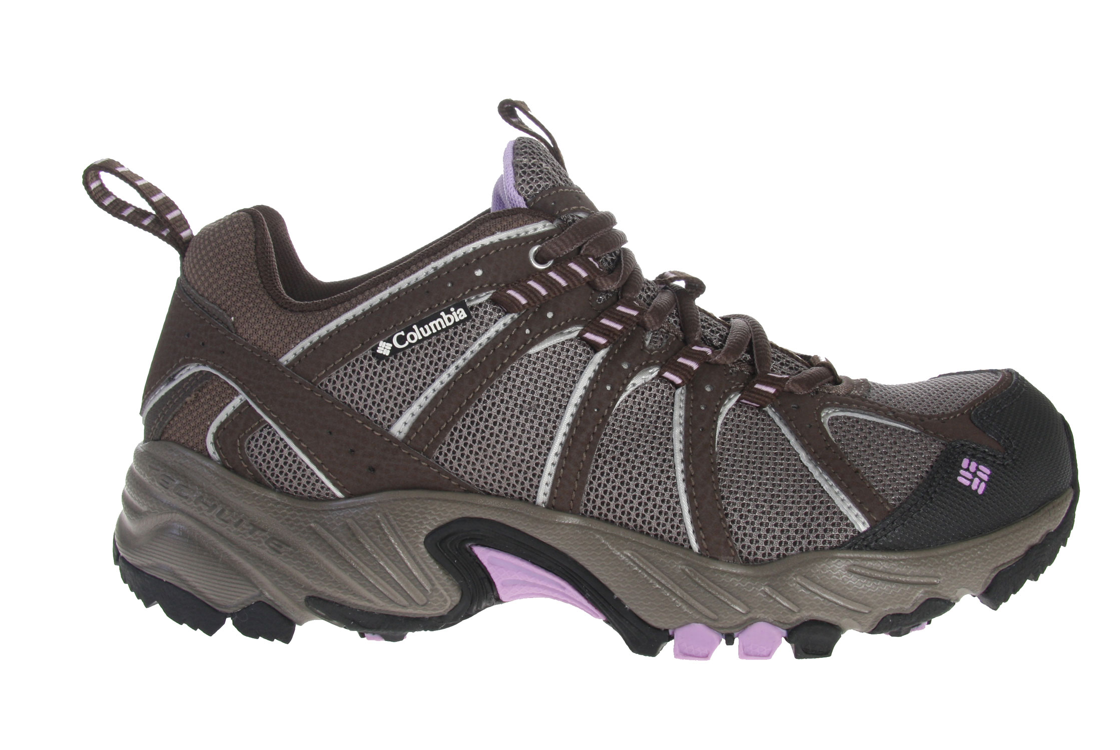 Camp and Hike A fantastic value, the Kaibab is the go-anywhere, do-anything answer to your everyday adventure footwear needs.This shoe is flexible, light and well-supported - perfect for trail running and hiking but low-profile enough for general everyday use. The breathable mesh upper helps you stay cool when you're on the move and a gusseted tongue keeps out unwanted debris. A women's-specific last accommodates a narrower foot for fantastic fit. Ample padding protects and cushions your feet while a rugged non-marking outsole with a trail-specific design provides stability as you move over uneven surfaces. Key Features of the Columbia Kaibab Hiking Shoes: Breathable mesh upper supported by light and flexible overlays. Gusseted tongue to keep out unwanted debris Molded rubberized EVA with nylex top cover Compression molded EVA Nylon shank Non-marking Omni-Grip rubber compound with a rugged trail design Weight: Size 9, 1/2 pair = 12.6 oz/360g - $48.95