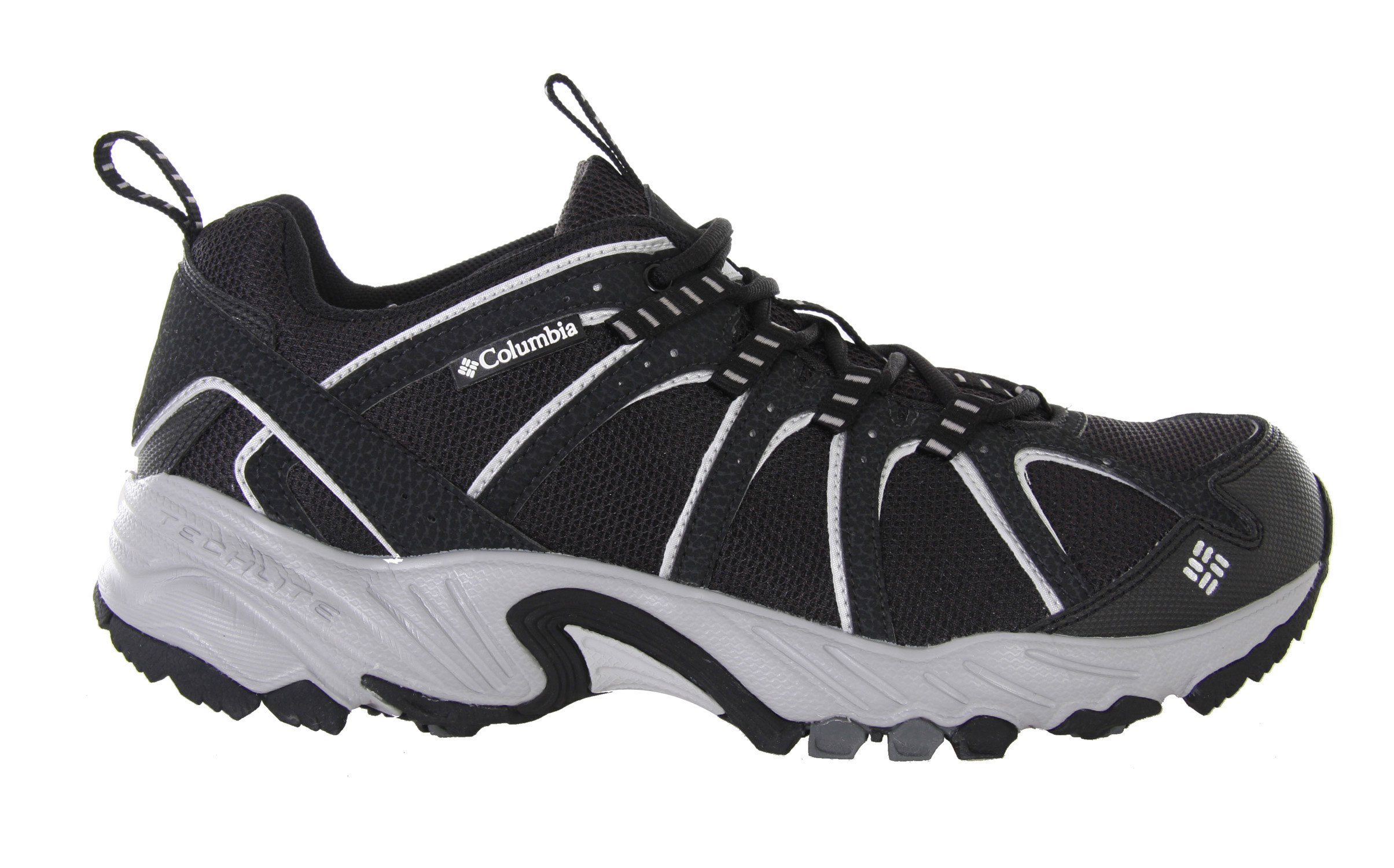 Camp and Hike A fantastic value, the Kaibab is the go-anywhere, do-anything answer to your everyday adventure footwear needs.This shoe is flexible, light and well-supported - perfect for trail running and hiking but low-profile enough for general everyday use. The breathable mesh upper helps you stay cool when you're on the move and a gusseted tongue keeps out unwanted debris. A women's-specific last accommodates a narrower foot for fantastic fit. Ample padding protects and cushions your feet while a rugged non-marking outsole with a trail-specific design provides stability as you move over uneven surfaces. Key Features of the Columbia Kaibab Hiking Shoes: Breathable mesh upper supported by light and flexible overlays Gusseted tongue to keep out unwanted debris Molded rubberized EVA with nylex top cover Compression molded EVA Nylon shank Non-marking Omni-Grip rubber compound with a rugged trail design Weight: Size 7, 1/2 pair = 10.6oz/300g - $48.95