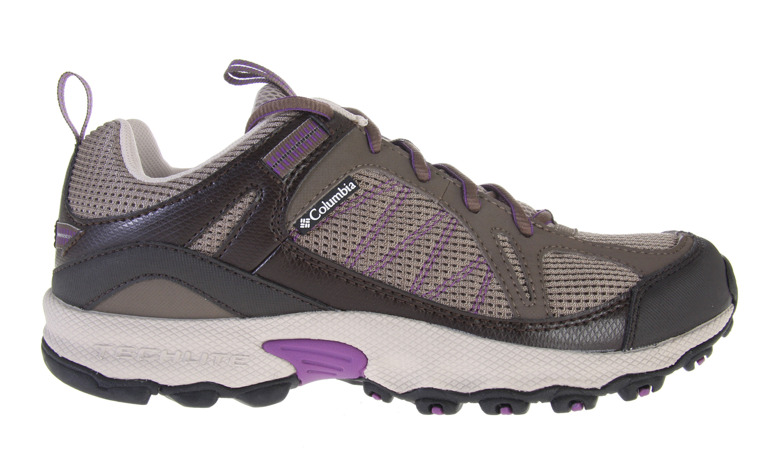 Camp and Hike Slip into the Switchback for low-profile support that looks as good on the street as it does on the single-track. Columbia's revolutionary new Techlite heel moves dense stabilizing elements to the outside (putting softer material directly against your foot) to provide a cushioned and conforming fit to alleviate pain and irritation where trail runners told us they felt it most. Omni-Grip traction on the rubber sole grips rocks, dirt, mud and just about anything else you encounter on off-road adventures. Breathable mesh and a soft material in the flex zones mean superior comfort with great agility and ease of movement. The gusseted tongue keeps out rocks, sticks, and dirt while light, sinewy overlays offer additional protection without adding unnecessary bulk. Key Features of the Columbia Switchback Low Women's Hiking Shoes: Open breathable mesh tongue and vamp Gusseted tongue to keep out unwanted debris Light and sinewy synthetic overlays for support and protection Contour Comfort 1D footbed with AgION anti-odor treatment Removable contoured, single-density EVA footbed, which provides cushioning, comfort and support Low profile Techlite midsole for nimble, flexible feel in a lightweight package Non-marking Omni-Grip rubber compound with a rugged trail design - $48.95