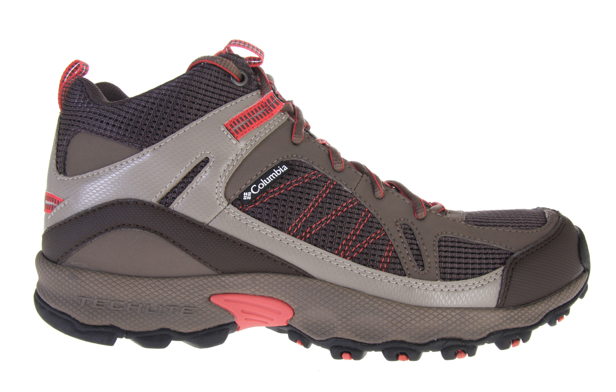 Camp and Hike Slip into the Switchback for low-profile support that looks as good on the street as it does on the singletrack. The mid version of this popular shoe covers the ankle for increased support and protection while maintaining a minimalist look and feel. Our revolutionary new Techlite heel moves dense stabilizing elements to the outside (putting softer material directly against your foot) to provide a cushioned and conforming fit to alleviate pain and irritation where trail runners told us they felt it most. Omni-Grip traction on the rubber sole grips rocks, dirt, mud and just about anything else you encounter on off-road adventures. Breathable mesh and a soft material in the flex zones mean superior comfort with great agility and ease of movement. The gusseted tongue keeps out rocks, sticks, and dirt while light, sinewy overlays offer additional protection without adding unnecessary bulk. Key Features of the Columbia Switchback Mid Hiking Shoes: Open breathable mesh tongue and vamp. Gusseted tongue to keep out unwanted debris. Light and sinewy synthetic overlays for support and protection Contour Comfort 1D footbed with AgION anti-odor treatment Removable contoured, single-density EVA footbed, which provides cushioning, comfort and support Low profile Techlite midsole for nimble, flexible feel in a lightweight package Non-marking Omni-Grip rubber compound with a rugged trail design Weight: Size 9, 1/2 pair = 13.9oz/395g - $70.95