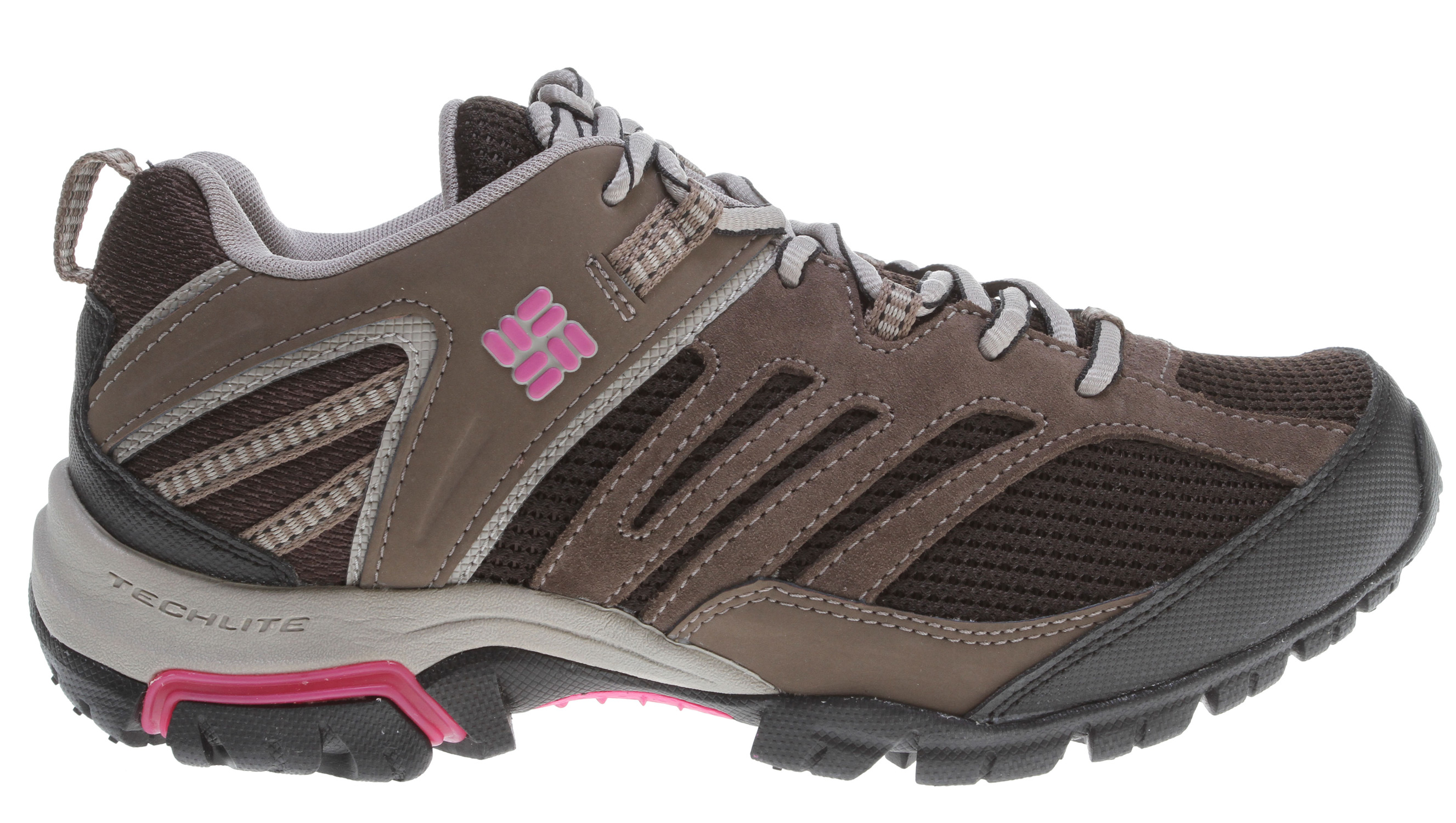 Camp and Hike A lightweight multi-functional trail shoe capable of a variety of outdoor activities.Key Features of the Columbia Shasta Ridge Low Hiking Shoes: UPPER: Leather and textile working with a waterproof Omni-Tech membrane. MIDSOLE: Full length Techlite under foot cushioning and support. OUTSOLE: Non-marking Omni-Grip rubber compound. Independent heel lug design with rubber gasket and a de-coupled heel, all for a great ride on the trail. - $51.95