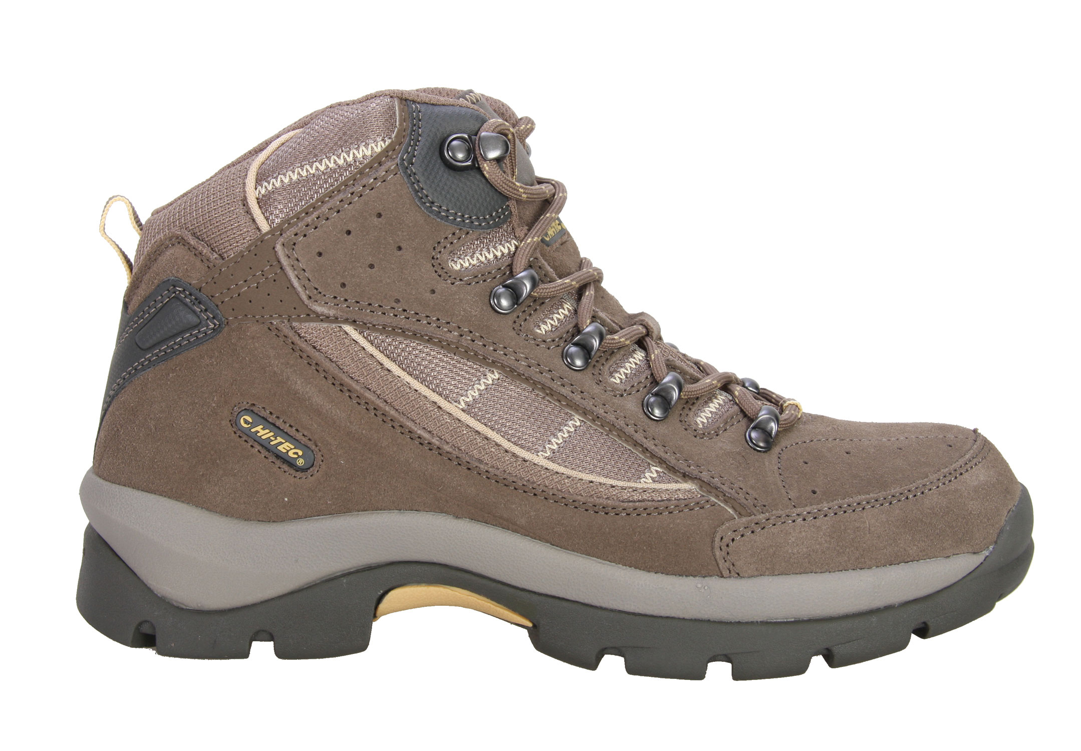 Camp and Hike Explore the great outdoors with these Hitec Seronga Mid Hiking Shoes. So fabulous, this reliable pair of shoes is ideal for any outdoor activities. Made with great traction soles, be sure you won't slip and fall. Featuring a superior fit with moisture wicking lining, you'll feel ultra comfortable all day long. Treat yourself to this great Hitec Seronga Mid Hiking Shoes and you'll wonder how you ever did without.Key Features of The Hitec Seronga Mid Women's Hiking Shoes: Suede leather and breathable mesh upper Rustproof brass hardware Moisture wicking lining Women's-specific last for superior fit and performance Comfort-Tec contoured sockliner Board lasted with steel shank for added rigidity and support Lightweight CMEVA midsole for cushioning Durable carbon rubber MDT hiking outsole - $41.95
