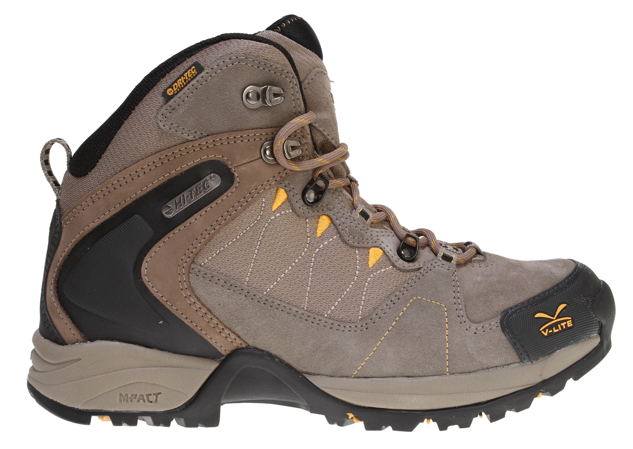 Camp and Hike Key Features of the Hitec V-Lite Buxton Mid WP Hiking Shoes Smokey Brown/Taupe/Sunflower: Waterproof suede and mesh upper Dri-Tec waterproof membrane construction V-Lite design and build technology TPU heel locking system Comfort-Tec sockliner Stabila-Flex bi-fit board CMEVA midsole for lightweight cushioning V-Lite MDT carbon rubber outsole - $79.95