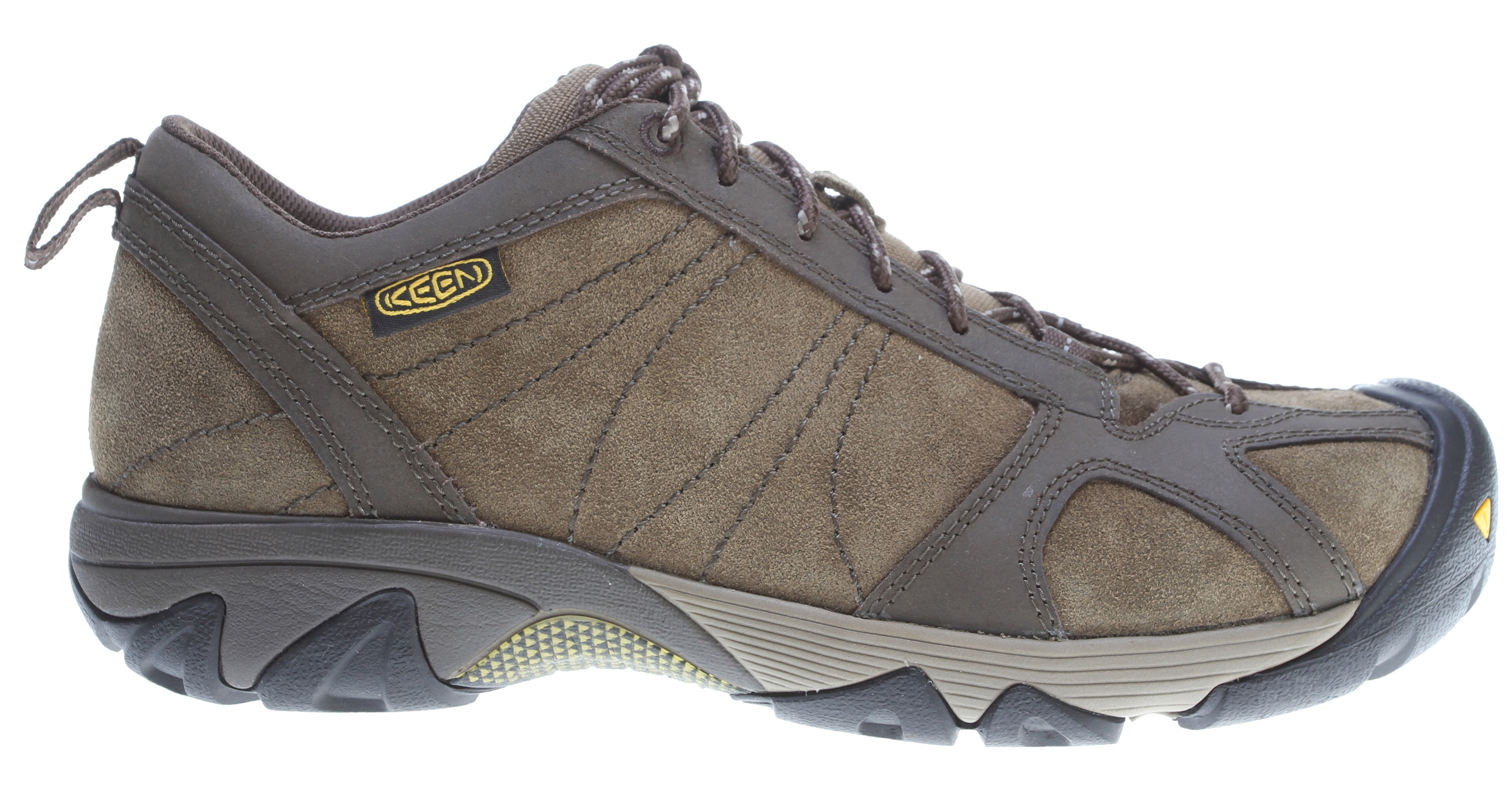 Camp and Hike It's not just about where you're going, but how you get there. With the Ambler, featuring a semi-sticky active-traction rubber sole and moisture-wicking textile lining, you'll get there in ease whether it's steep single track trails, a pile of boulders or dodging cacti. A perfect light hiker.Key Features of the Keen Ambler Hiking Shoes: Care for Suede Gently brush the footwear with a dry soft sponge or hand towel to remove loose dirt and restore nap of suede and nubuck shoes on a regular basis. Stains should be treated immediately with a solvent-based suede/leather cleaner. This process may cause slight discoloration to the affected area. KEEN.Zorb Strobel Moisture wicking textile lining Non-marking rubber outsole Removable metatomical EVA footbed S3 Heel support structure Torsion stability ESS shank TPU stability shank Waxed suede upper with reinforced stitching S3: Shock, suspension, stability - otherwise known as S3 - is engineered to support the foot on impact, dissipate shock and reduce your odds of twisting an ankle. KEEN.CUSH: What if the inside of your shoe could mold to your feet? KEEN.CUSH is a blend of recycled PU, cork and memory foam that contours to feet and adjusts to give you the cushioning you need throughout your day. - $61.95