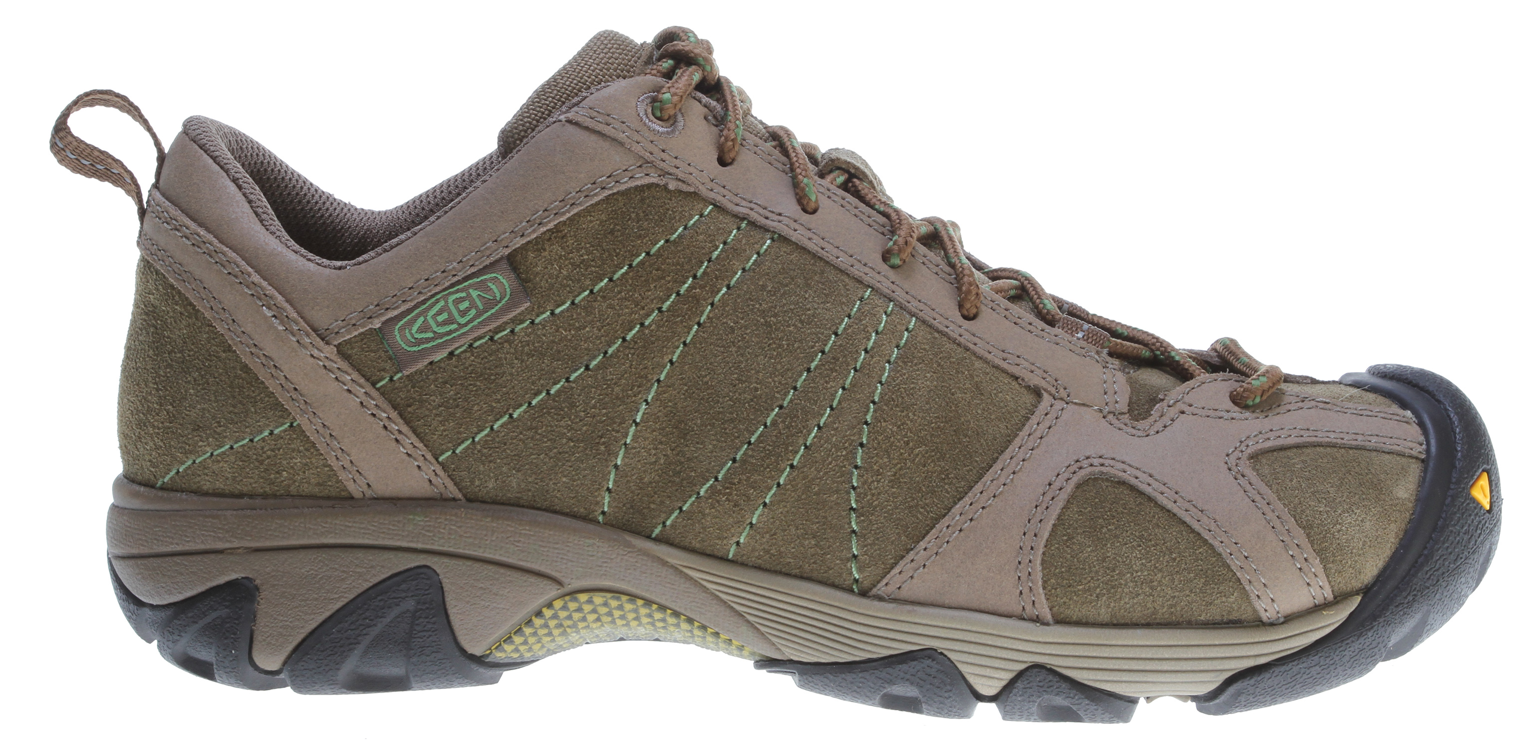Camp and Hike It's not just about where you're going, but how you get there. With the Ambler, featuring a sticky Active-traction rubber sole and moisture-wicking textile lining, you'll get there in ease whether it's steep single track trails, a pile of boulders or dodging cacti.Key Features of the Keen Ambler Hiking Shoes Chocolate Chip/Jade Green: Lining: Moisture wicking textile lining Upper: Waxed suede upper with reinforced stitching Rubber: Non-marking rubber outsole Activities: Hiking Type: Shoes, Lace Up Weather: Wet - water resistant KEEN.Zorb Strobel Moisture wicking textile lining Non-marking rubber outsole Removable metatomical dual density EVA footbed S3 Heel support structure Torsion stability ESS shank TPU stability shank Waxed suede upper with reinforced stitching S3: Shock, suspension, stability – otherwise known as S3 – is engineered to support the foot on impact, dissipate shock and reduce your odds of twisting an ankle. KEEN.CUSH: What if the inside of your shoe could mold to your feet? KEEN.CUSH is a blend of recycled PU, cork and memory foam that contours to feet and adjusts to give you the cushioning you need throughout your day. - $69.95