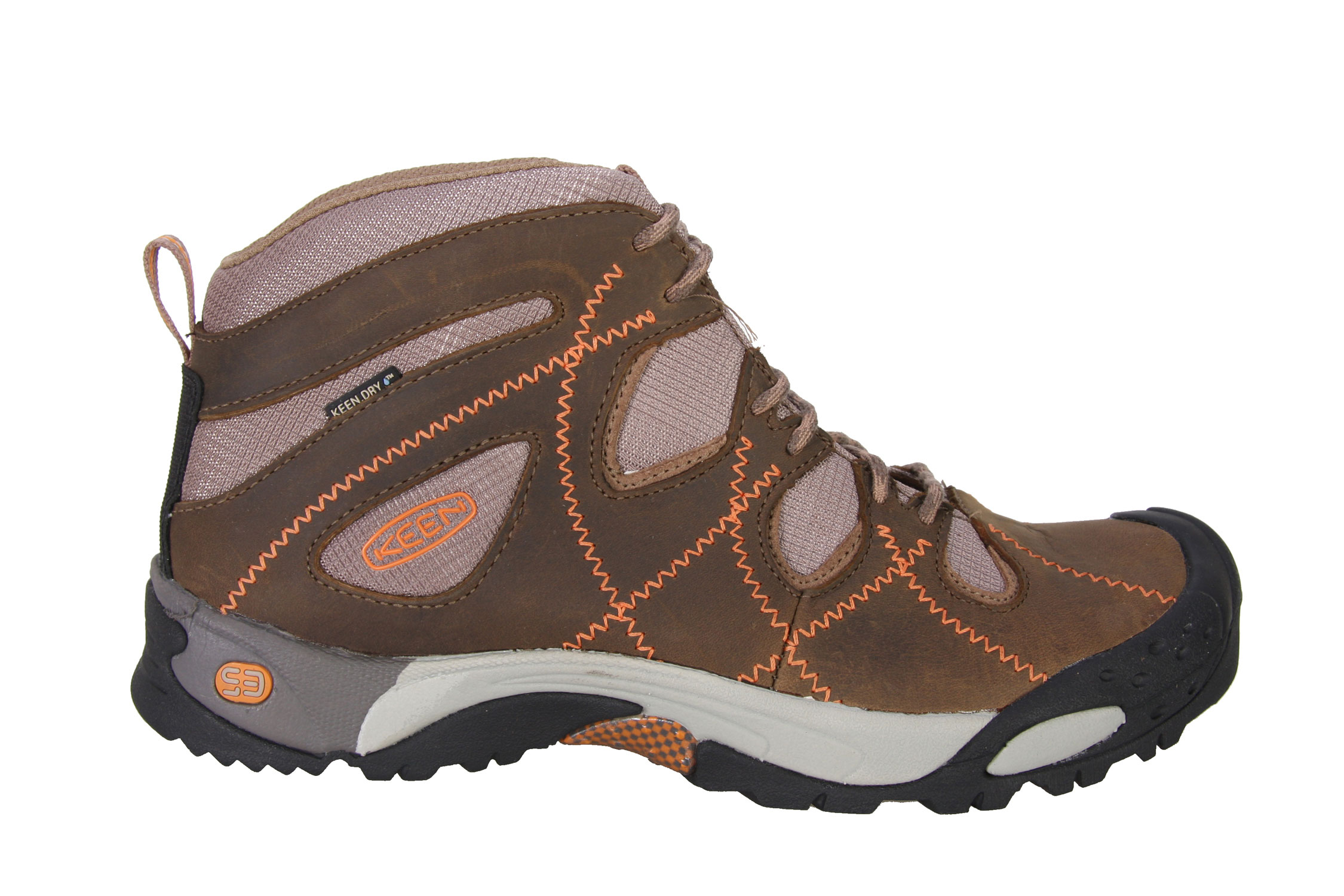 Camp and Hike Rise to a new zenith of outdoor performance with the Genoa Peak Mid WP from KEEN. This shoe brings KEEN comfort, technical precision and durability to a women's-specific fit. The KEEN.DRY waterproof membrane maintains breathability with weather protection. The grippy, rugged outsole provides enough cushioning and stability for any arduous trek.Key Features of The Keen Genoa Peak Mid Women's Hiking Shoes: Forefoot Y-flex grooves Heel motion stabilizer KEEN.DRY Waterproof breathable membrane S3 Heel support structure Sticky rubber traction edging zone Stone bruising protection plate Toe protection Torsion stability ESS shank Women's specific fit S3 - Shock, Suspension, Stability Metatomical Footbed Design Weight: 11.8 oz / 335 grams Fit Tip: We find this style runs about a 1/2 size small Lining: KEEN.DRY Waterproof / breathable textile, KEEN.DRY Waterproof membrane / breathable textile Upper: Leather, Synthetic Rubber: Non-marking rubber outsole Activities: Hiking Type: Boots, Cold Weather Boots, Lace Up Weather: Wet - waterproof Keen Protection - KEEN Patented Toe Protection where the shoe outsoles wrap up and over the toes for ultimate protection - $74.95