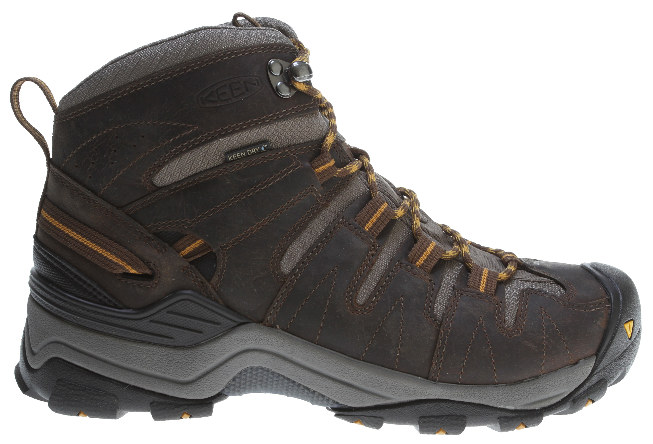 Camp and Hike Follow the trail farther afield in the Gypsum Mid, an all-terrain boot built with the technology to take you there. Featuring a wide, 4mm lugged outsole, a KEEN.ZORB strobel and KEEN.DRY waterproof breathable membrane, the Gypsum Mid delivers the stability, comfort and moisture management needed overnight hikes and winter ascents.Key Features of the Keen Gypsum Mid Hiking Shoes: Fit Tip: We find this style runs about a 1/2 size small. Upper: Waterproof nubuck leather and breathable mesh Rubber: Non-marking rubber outsole Activities: Hiking Type: Boots, Lace Up Weather: Wet – waterproof 4mm multi directional traction lugs KEEN.DRY™ waterproof breathable membrane KEEN.Zorb Strobel Non-marking rubber outsole Removable metatomical dual density EVA footbed Torsion stability ESS shank TPU heel stabilizer Waterproof nubuck upper KEEN.DRY: A proprietary waterproof, breathable membrane that lets vapor out without letting water in. - $97.95