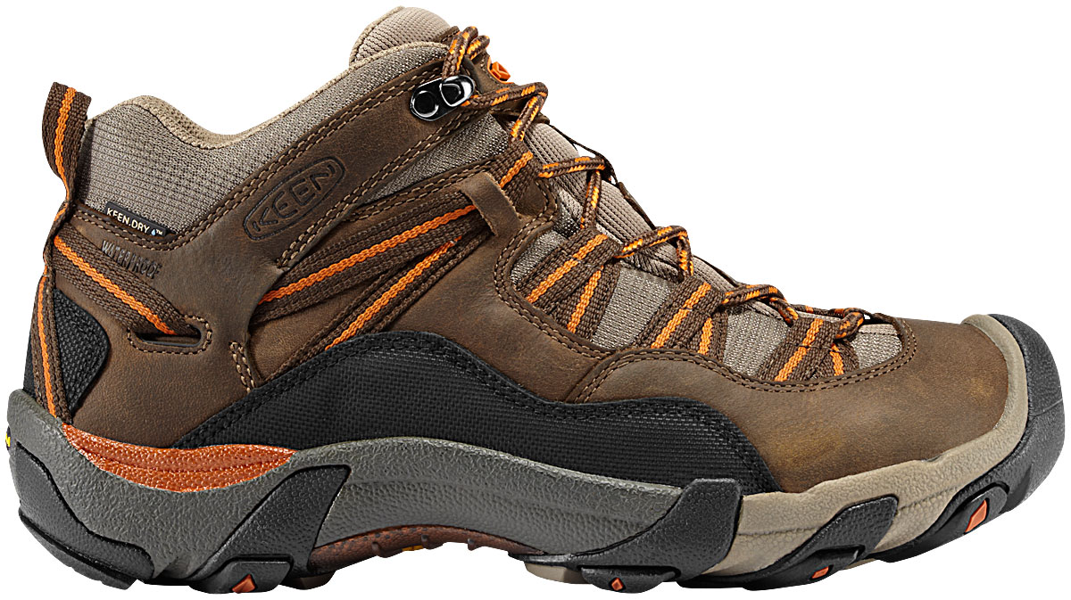 Camp and Hike The Keen Red Rock Mid WP Hiking Shoes are simply outstanding for any type of stressful wear. These shoes are extraordinarily comfortable and durable, have amazing traction, breath very well, and on top of all of that, they simply look great. The Keen Dry waterproof breathable membrane will to keep your foot dry and breathing through any type of weather. Furthermore, the drop in EVA heel insert and Removable metatomical dual density EVA footbed is designed to give the wearer the kind of stability necessary to keep him on the move all day.Key Features of the Keen Red Rock Mid WP Hiking Shoes: 4mm multi directional lugs Drop in EVA heel insert Dual density compression molded EVA and PU midsole KEEN.DRY waterproof breathable membrane Non Marking rubber outsole Removable metatomical dual density EVA footbed Torsion stability TPU shank Waterproof nubuck leather & breathable mesh upper - $77.95