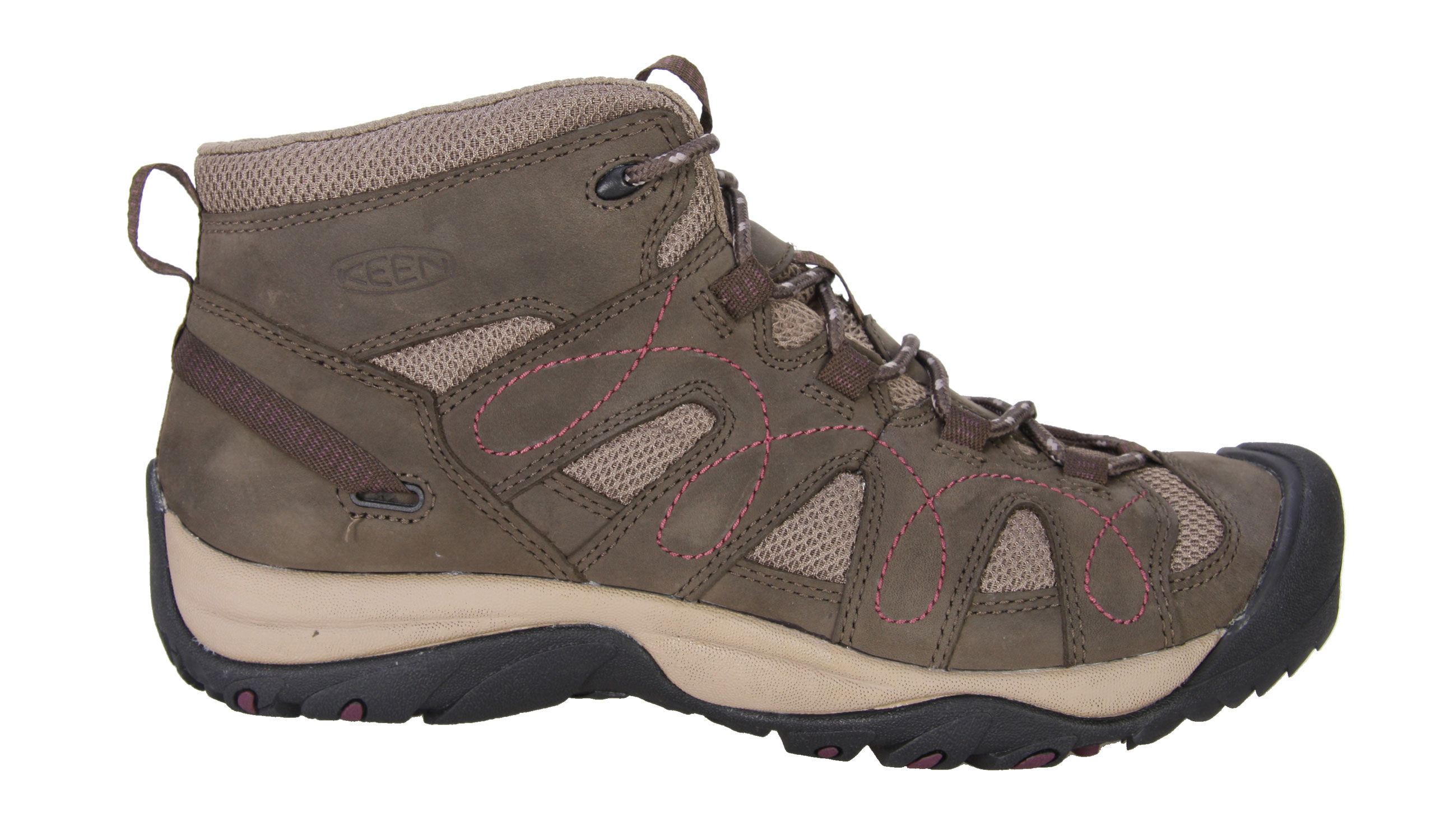 Camp and Hike For adventures in dry, warm climates, the breathable Shasta Mid makes an ideal and affordable all-around shoe for exploring canyons, scrambling up sand dunes or just kicking around town in classic KEEN comfort. The mid-ankle height provides support for carrying a pack or long days out on the trail.Key Features of The Keen Shasta Mid Women's Hiking Shoes: Leather with breathable mesh underlays Multi direction lug pattern for increased traction Non-marking rubber outsole Women's specific fit Metatomical Footbed Keen Protect - KEEN Patented Toe Protection where the shoe outsoles wrap up and over the toes for ultimate protection Weight: 13.7 oz / 388 GRAMS Fit Tip: We find this style runs about a 1/2 size small Upper: Leather Rubber: Non-marking rubber outsole Activities: Hiking Type: Boots, Shoes, Lace Up - $64.95