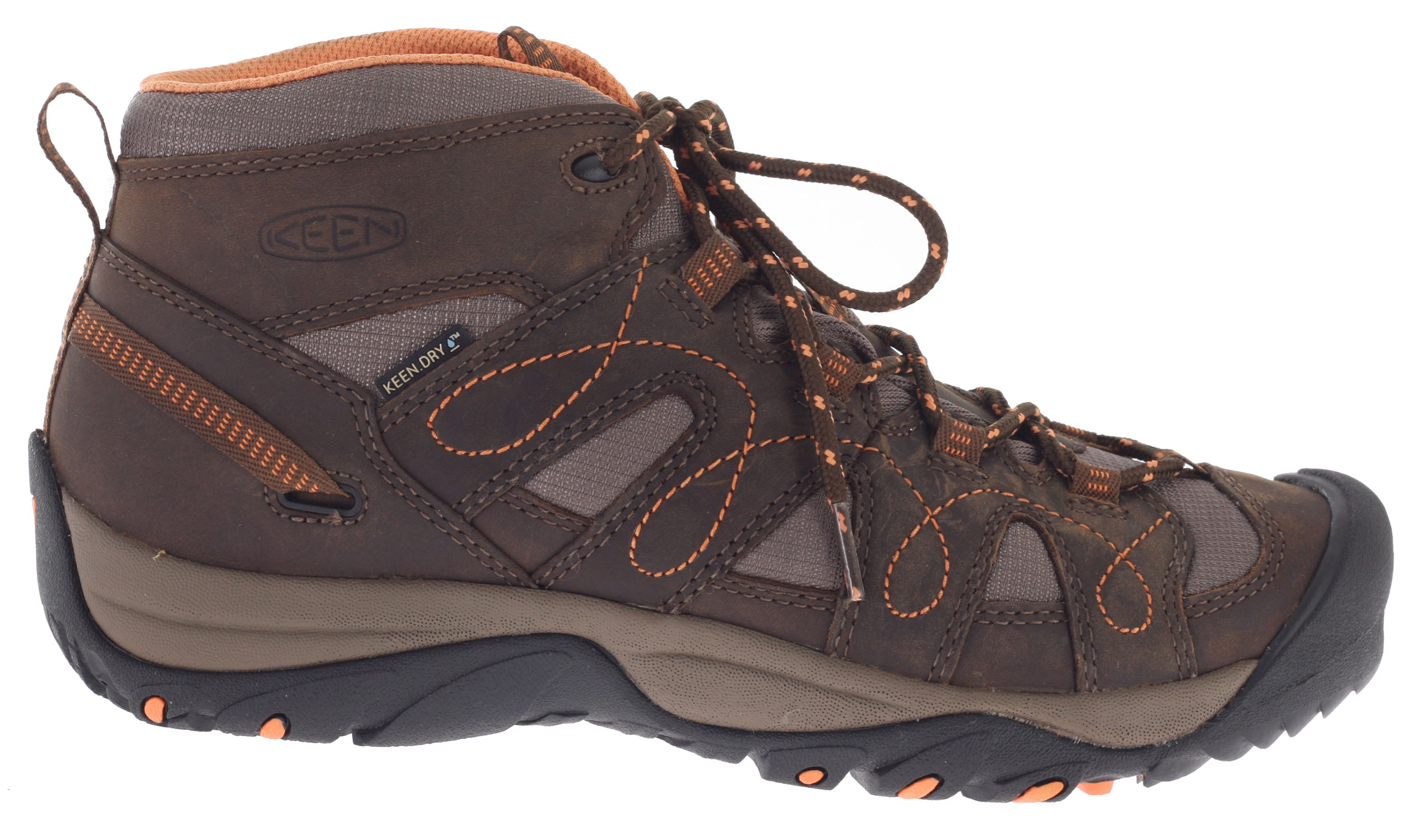 "Camp and Hike The Keen Shasta Mid WP hiking shoe offers all the benefits of a serious hiking boot in a low profile and affordable shoe. Built on a Women's-specific last for a superior fit, the WP edition is ready for winter with a waterproof/breathable KEEN.DRY membrane and tough, trail-ready mesh venting panels to keep feet dry and comfortable through wet weather. Key Features of the Keen Shasta Mid WP Hiking Shoes: Weight: 15.37 oz / 435.732 grams Fit Tip: We find this style runs about a 1/2 size small. Lining: KEEN.DRY Waterproof and breathable textile Upper: Waterproof nubuck leather and breathable mesh Rubber: Non-Marking Collar Height: 5.25"" Calf Circumference: 9.5"" Activities: Hiking Type: Boots, Lace Up Weather: Wet - waterproof 3mm multi directional lugs KEEN.DRY waterproof breathable membrane Non-marking rubber outsole Patented toe protection Removable metatomical dual density EVA footbed Single density PU midsole Waterproof nubuck leather & breathable mesh upper Women's specific fit Metatomical Footbed Design: This internal support mechanism is anatomically engineered to provide excellent arch support and cradle the natural contours of the foot. - $70.95"
