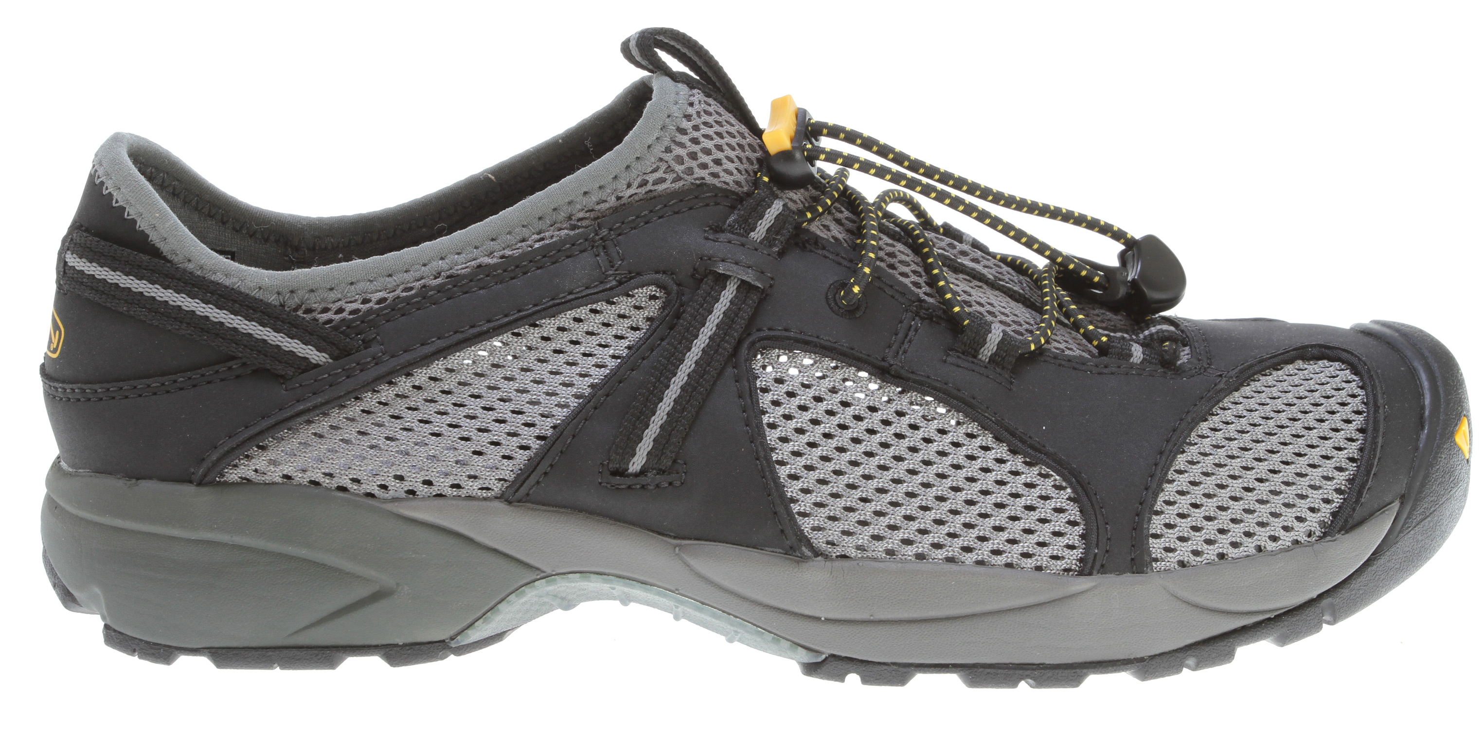 Camp and Hike A full-coverage version of our lightweight Turia Sandal, this go-anywhere adventure shoe features superb drainage and breathability. A minimal open-mesh synthetic upper allows for maximum venting in hot weather, and our secure fit lace capture system and KEEN's active heel lock keep your feet securely in place. Razor siping on the sole provides superb traction on wet, slick surfaces.Key Features of the Keen Turia Hiking Shoes: Fit Tip: We find this style runs about a 1/2 size small. Upper: Lightweight synthetic and open mesh upper Rubber: Water traction rubber compound with razor siping Activities: Hiking, Beach, Sailing Type: Shoes Weather: Warm - sandals Dual density compression molded EVA midsole with ESS stability shank KEEN active heel lock Lightweight synthetic and open mesh upper Removable metatomical EVA molded footbed with AEGIS microbe shield S3 Heel support structure Secure fit lace capture system Water traction rubber compound with razor siping S3: Shock, suspension, stability - otherwise known as S3 - is engineered to support the foot on impact, dissipate shock and reduce your odds of twisting an ankle. AEGIS MICROBE SHIELD: Aegis Microbe Shield controls the bacteria and fungi that cause odors, stains and product deterioration. Aegis technology is free of environmentally harmful substances. - $69.95