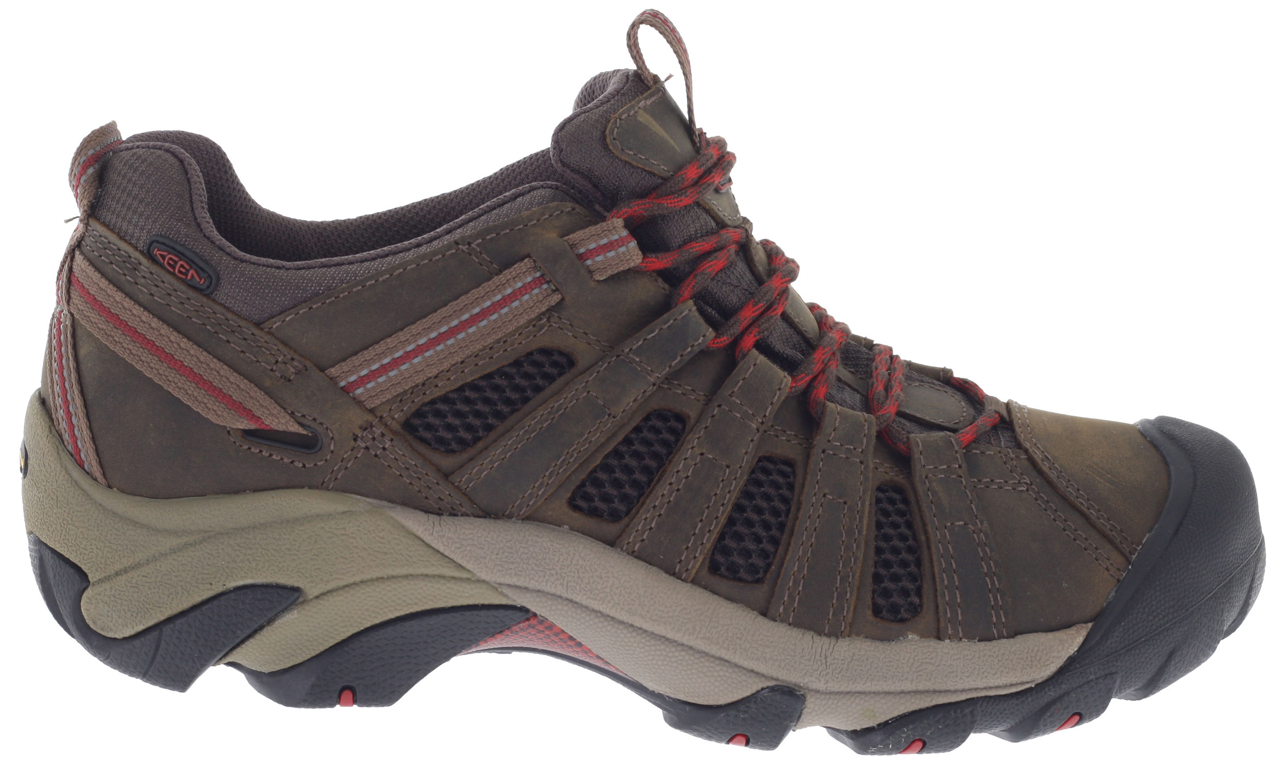 Camp and Hike Keep your cool under pressure with the Voyageur hiking shoe from KEEN. Mesh lining replaces a waterproof barrier for continual airflow. The rugged outsole finds a sure grip on rough terrain with multi-directional lugs. An ESS shank is built in for torsional stability, letting you keep your mind on the task at hand.Key Features of the Keen Voyageur Low Hiking Shoes: Weight: 16.61 oz / 470.885 grams Fit Tip: We find this style runs about a 1/2 size small. Lining: Moisture wicking textile Upper: Leather, webbing and mesh Rubber: Non-marking rubber outsole Activities: Hiking Type: Shoes, Lace Up 4mm multi-directional lugs Dual-density compression molded EVA midsole Non-marking rubber outsole Patented toe protection Removable metatomical Footbed S3 Heel support structure Torsion stability ESS shank Metatomical Footbed Design: This internal support mechanism is anatomically engineered to provide excellent arch support and cradle the natural contours of the foot. - $64.95