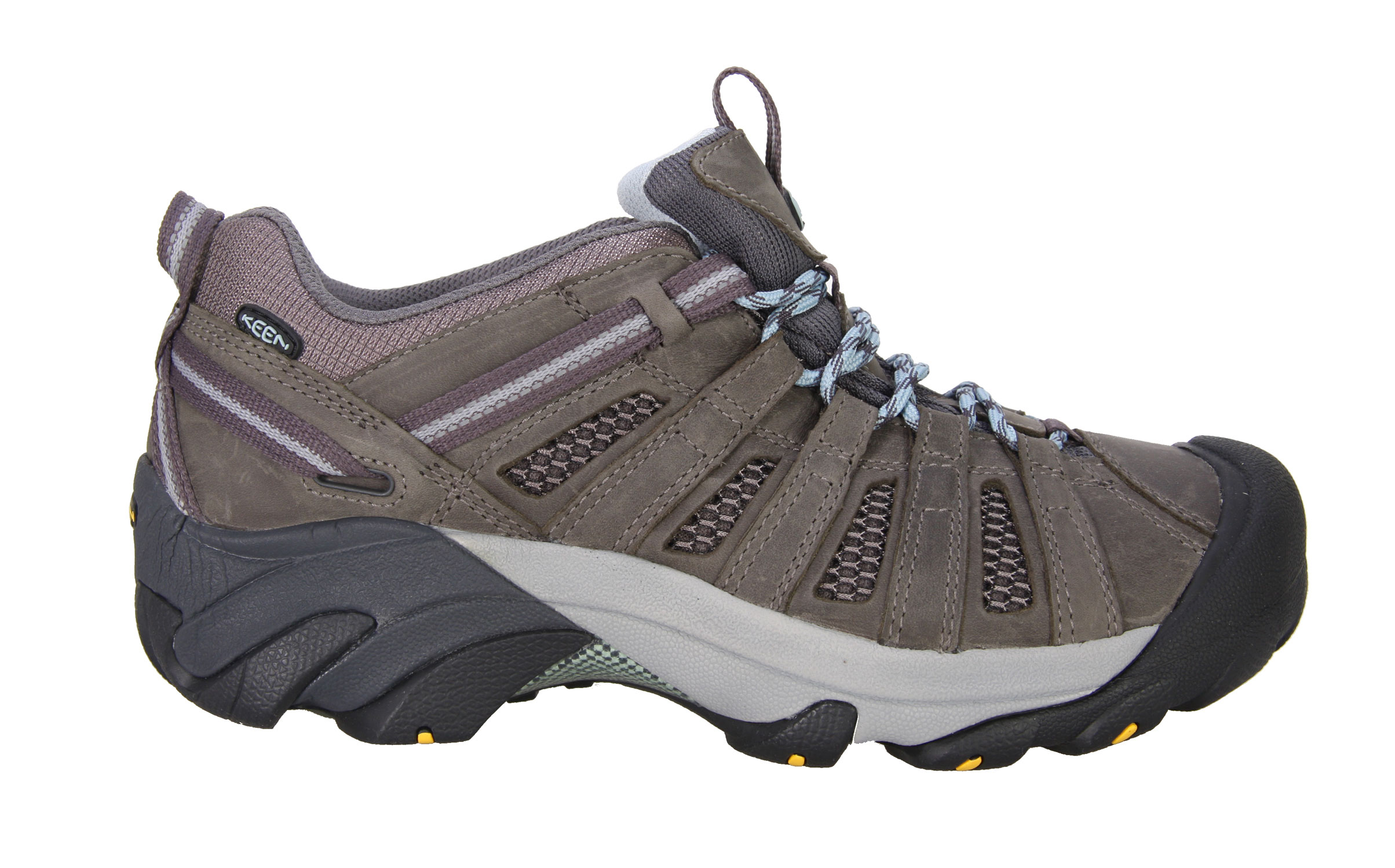 Camp and Hike Keep your cool under pressure with the Voyageur from KEEN. Mesh lining replaces a waterproof barrier for continual airflow. The rugged outsole finds a sure grip on rough terrain with multi-directional lugs. An ESS shank is built in for torsional stability, letting you keep your mind on the task at hand.Key Features of The Keen Voyageur Low Hiking Shoes: 4mm multi-directional lugs Dual Density Compression Molded EVA Midsole Non-marking rubber outsole Patented toe protection Removable metatomical Footbed S3 Heel support structure Torsion stability ESS shank S3-Shock, suspension, stability Metatomical Footbed Design Keen Protect - KEEN Patented Toe Protection where the shoe outsoles wrap up and over the toes for ultimate protection Weight: 15.06oz / 427 grams Fit Tip: We find this style runs about a 1/2 size small Lining: Moisture Wicking Textile Upper: Leather, Webbing, Mesh Rubber: Non-marking rubber outsole Activities: Hiking Type: Shoes, Lace Up - $64.95