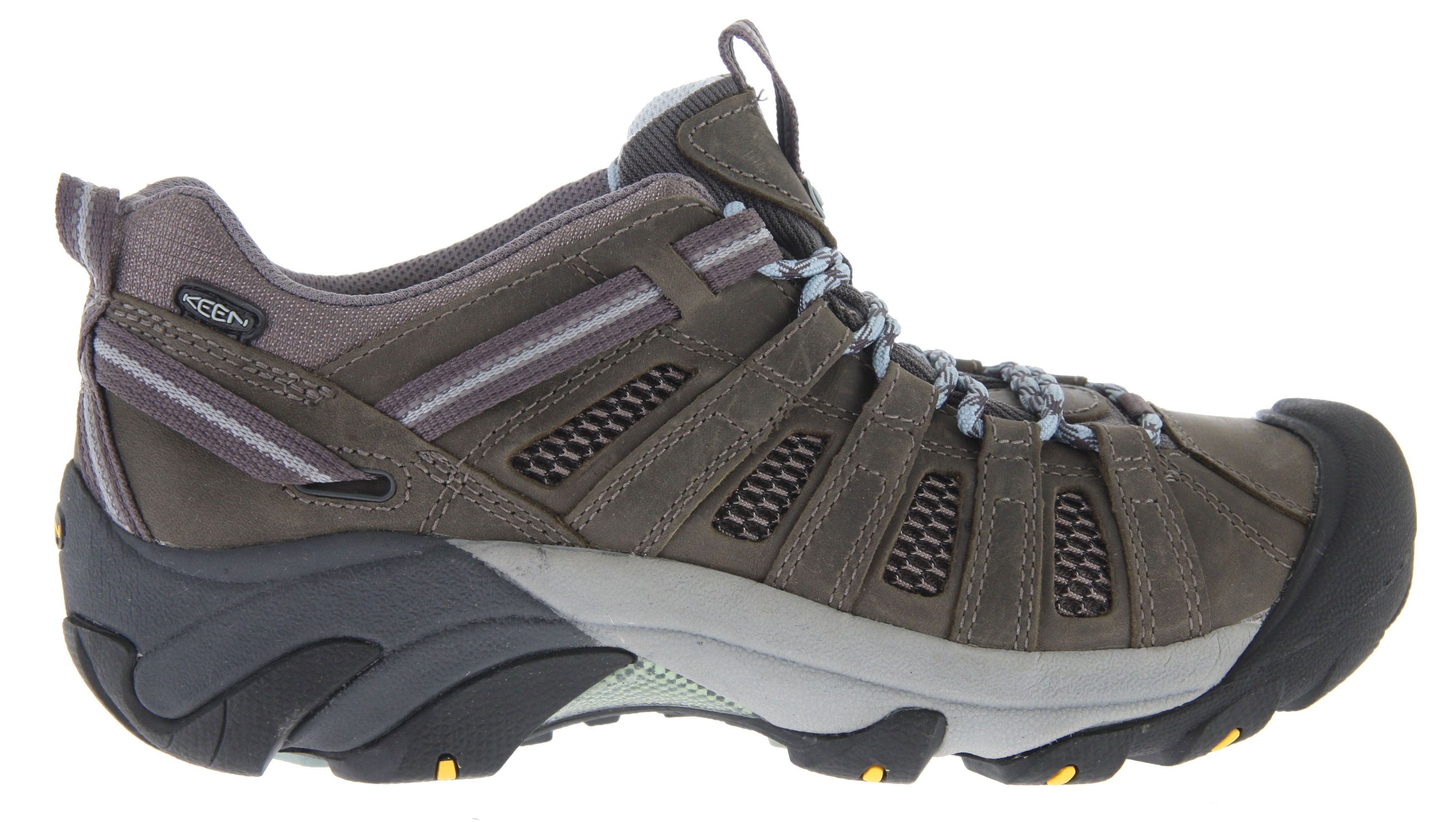 "Camp and Hike The Voyageur Mid hiking shoe from KEEN is a rugged cruiser with its windows down for ventilation. Stripped of its waterproof barrier in favor of mesh lining, the Voyageur Mid allows for more ventilation on hot summer days. The aggressive outsole has 4mm lugs to bite into the terrain, providing excellent traction while the ESS shank provides torsional stability for a secure ride from valley to mountaintop.Key Features of the Keen Voyageur Mid Hiking Shoes: Weight: 15.20 oz / 430.912 grams Fit Tip: We find this style runs about a 1/2 size small. Lining: Moisture wicking textile Upper: Leather, webbing and mesh Rubber: Non-marking rubber outsole Collar Height: 5.75"" Calf Circumference: 9.5"" Activities: Hiking Type: Boots, Shoes, Lace Up 4mm multi-directional lugs Dual-density compression molded EVA midsole Non-marking carbon rubber outsole Patented toe protection Removable metatomical Footbed S3 Heel support structure Torsion stability ESS shank Metatomical Footbed Design: This internal support mechanism is anatomically engineered to provide excellent arch support and cradle the natural contours of the foot. - $64.95"