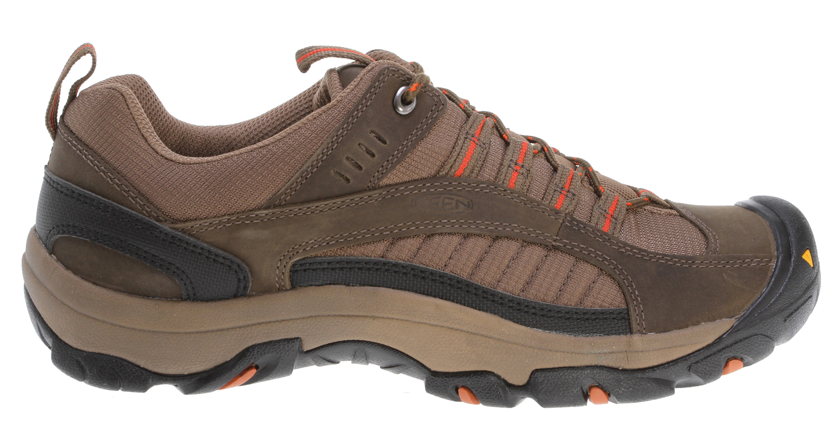 Camp and Hike From backyard to backcountry, the lightweight, rugged and comfortable Zion is an all-around favorite. Combining clean lines with an athletic fit, the Zion's sturdy construction and waterproof leathers mean you're ready for whatever adventures the weekend brings.Key Features of the Keen Zion Hiking Shoes: 4mm multi-directional lugs Compression molded EVA midsole Non-marking rubber outsole Nubuck leather and breathable mesh upper Removable metatomical dual density EVA footbed TPU stability shank Weight: 19.40 oz/550.97 g Activities: Hiking Type: Shoes: Light Rain not for puddles Fit Tip: We find this style runs about a 1/2 size small Lining: Moisture wicking textile Upper: Leather and textile Rubber: Non-marking rubber outsole - $55.95