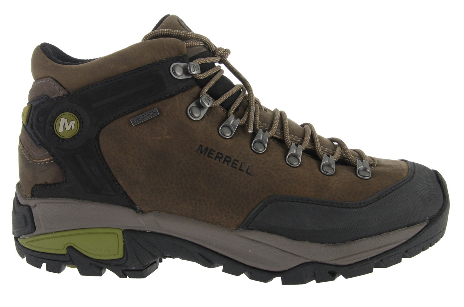 Camp and Hike This lightweight construction, leather backpacker supports every step of your extended treks with Merrell's Trailbound Technology. With the Merrell Col Mid W/P Hiking Shoe they focused Merrell air cushion cushioning under the heel to absorb rough terrain and keep your attention on-trail, along with naturally waterproof leather and hefty 5mm lugs to weather the conditions.Key Features of the Merrell Col Mid W/P Hiking Shoes: Cement construction provides lightweight durability Full grain leather upper Bellows tongue keeps debris out Abrasion resistant rubber toe bumper Waterproof membrane provides impermeable but breathable barrier Ortholite (R) anatomical footbed Grade 4 nylon insole for backpacking with a light pack Molded nylon arch shank Merrell air cushion in the heel absorbs shock and adds stability with an EVA midsole for cushioning Merrell Trailbound Technology midsole provides cushioned support that's durable over rough terrain 5 mm sole lug depth Vibram Col outsole/ TC5+ Sticky rubber Compound - $96.95