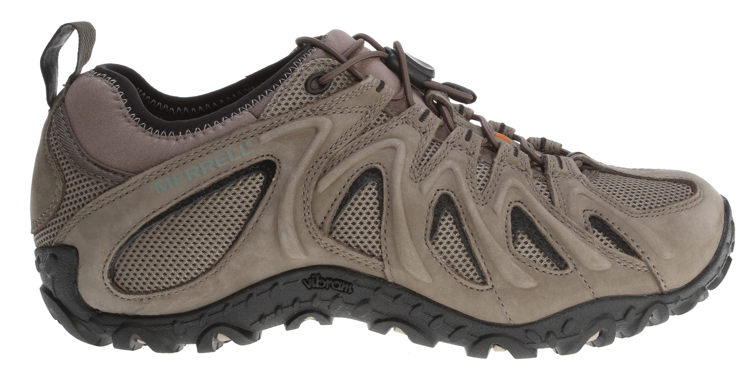 Camp and Hike Hiking shoes built for moving you everywhere on earth, these boast an elastic lock lacing system for a snug, custom fit. An easy on/off lycra/neoprene stretch collar keeps the fit close to keep out the riff raff. Stomp away with its supportive molded arch shank shock-absorbing support.Key Features of the Merrell Chameleon Stretch Hiking Shoes: Strobel construction offers flexibility and comfort Pig suede and mesh upper Lycra®/neoprene stretch collar for easy on and off Elastic cord and lock lacing system for quick secure fit Breathable mesh lining treated with Aegis® antimicrobial solution resists odor 20% recycled EVA dual density footbed provides comfort and support Molded nylon arch shank 2mm EVA inSole for comfort and shock absorption Merrell In-Board™ Compression Molded EVA footframe provides cushioning Merrell air cushion in the heel absorbs shock and adds stability 5 mm Sole lug depth Vibram® Chameleon4 Sole/TC5+Rubber Men's Weight: 1 lbs 13 ozs - $86.95