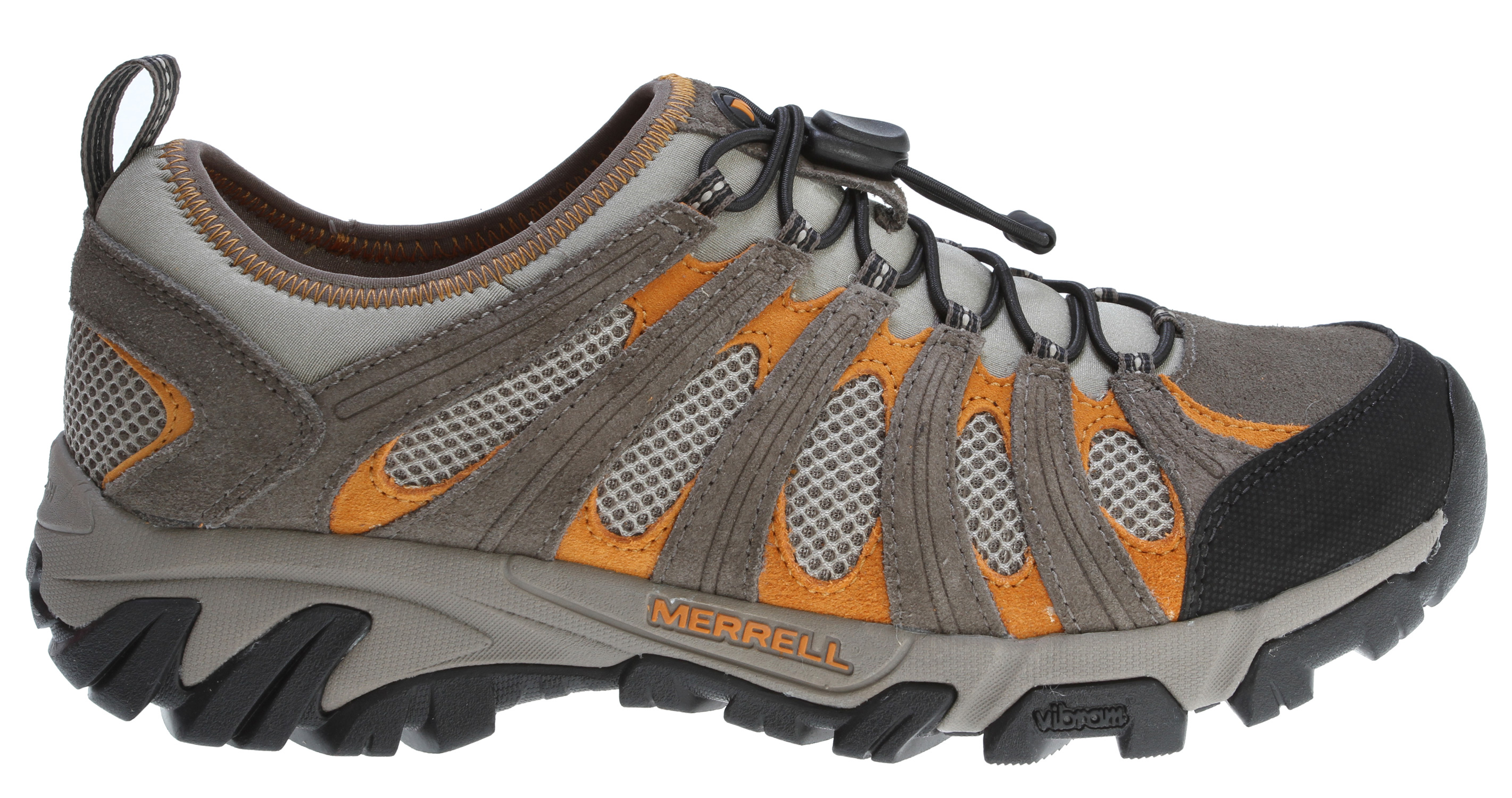 Camp and Hike Lightweight, comfortable and with an impressively short response time, our maze stretch will be your go-to shoe from trail to town . . reinforced with leather for lateral stability, its breathable mesh upper secures via one-cinch lacing to keep your cool in the heat, with a wicking mesh lining for dry feet . Grippy rubber sole sticks the landings .Key Features of the Merrell Geomorph Maze Stretch Hiking Shoes: Strobel construction offers flexibility and comfort Nubuck leather and mesh upper Low cut upper Elastic cord and lock lacing system for quick secure fit Mesh lining treated with aegis® antimicrobial solution Eva removable footbed treated with aegis® antimicrobial solution Merrell air cushion in the heel absorbs shock and adds stability Vibram® geomorph sole / tc5+ rubber - $69.95