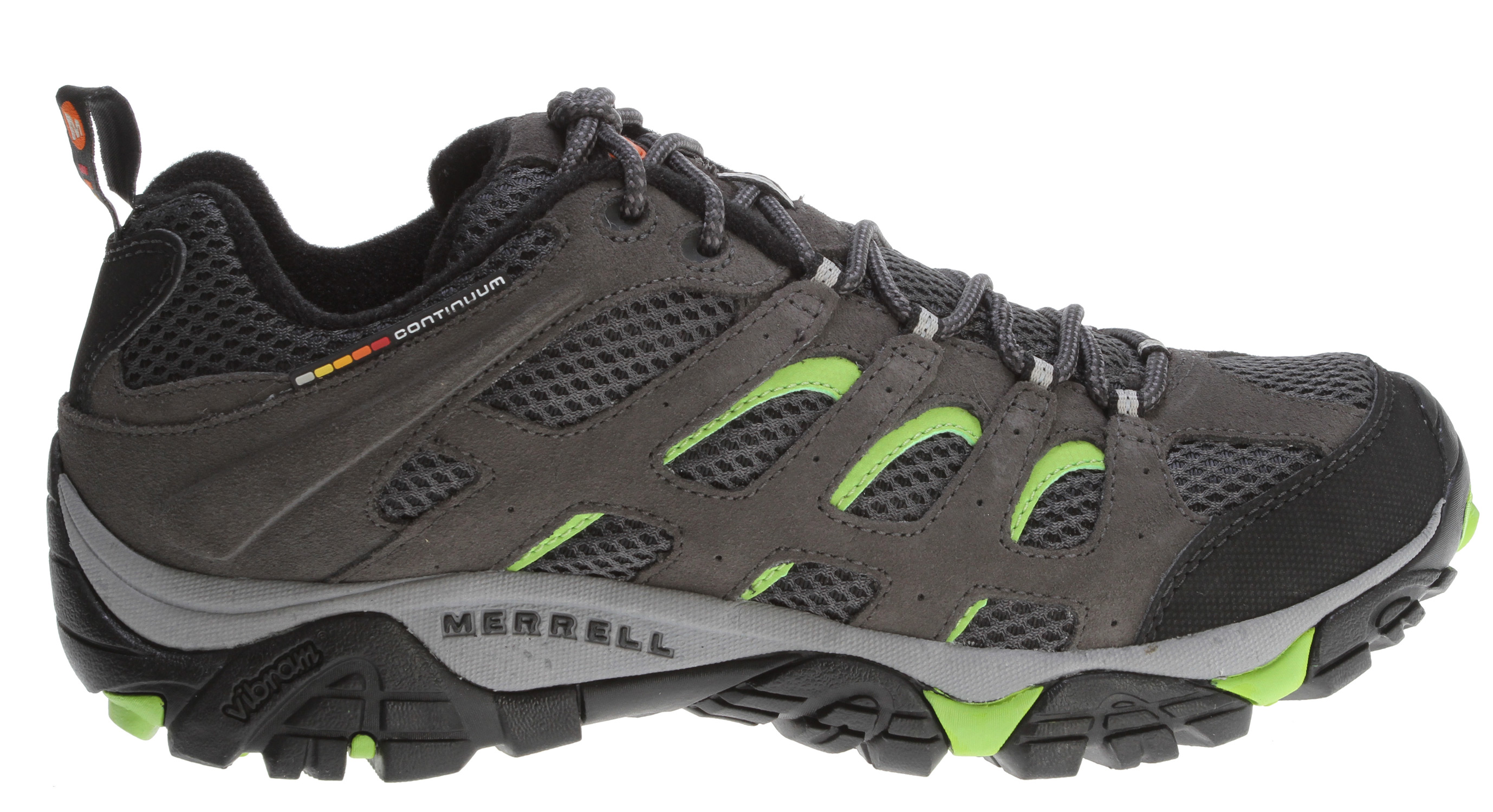 Camp and Hike Our endless summer essential hiking shoe now with highly evolved breathability for hiking or biking the trails. A lattice-like overlay of Dura leather strapping supports and protects while enhancing the open-window venting of the breathable mesh upper that is a Merrell mark. Full bumper protection at the toe and around the heel Proven Vibram Multi-Sport sole with TC5+ rubber compound for grip and durability.Key Features of the Merrell Moab Ventilator Hiking Shoes: Dura leather and mesh upper Bellows tongue keeps debris out Synthetic leather toe cap and heel counter Breathable mesh lining treated with Aegis® Antimicrobial solution maintains foot comfort Ortholite® Anatomical Footbed Molded nylon arch shank Compression molded EVA footframe provides cushioning Merrell® Air Cushion in the heel absorbs shock and adds stability 5mm Sole lug depth Vibram® Multi-Sport Sole/TC5+ Rubber Weight: 1 lb 8 ozs. - $58.95