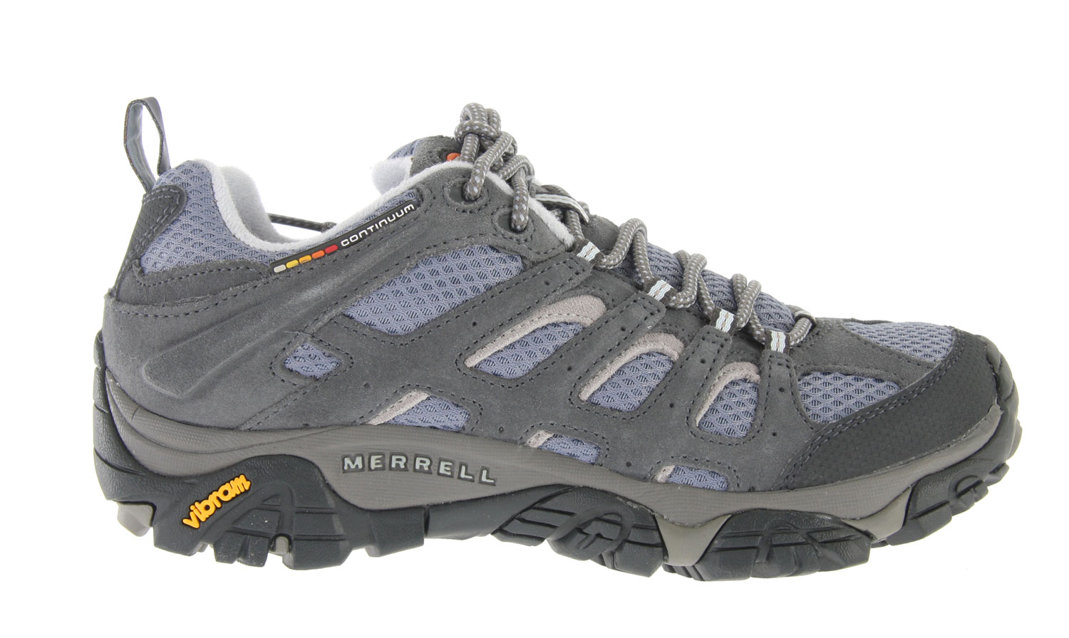 Camp and Hike Merrell's endless summer essential hiking shoe now with highly evolved breathability for hiking or biking the trails. The Moab Ventilator Low Hiking Shoe has a lattice-like overlay of Dura leather strapping supports and protects while enhancing the open-window venting of the breathable mesh upper that is a Merrell mark. Full bumper protection at the toe and around the heel Proven Vibram Multi-Sport sole with TC5+ rubber compound for grip and durability. Key Features of the Merrell Moab Ventilator Low Hiking Shoes: Dura leather and mesh upper Bellows tongue keeps debris out Synthetic leather toe cap and heel counter Breathable mesh lining treated with Aegis Antimicrobial solution Ortholite Anatomical Footbed Molded nylon arch shank Compression molded EVA footframe provides cushioning Merrell air cushion in the heel absorbs shock and adds stability QForm Comfort midsole provides women's specific stride-sequenced cushioning 5mm Sole lug depth Vibram Multi-Sport Sole/TC5+ Rubber Weight: 1 lb 13 ozs. - $54.95