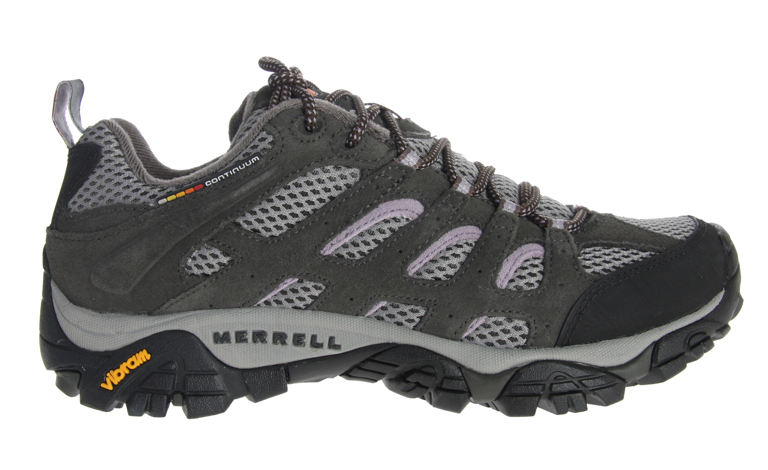 Camp and Hike Merrell's endless summer essential hiking shoe now with highly evolved breathability for hiking or biking the trails. A lattice-like overlay of Dura leather strapping supports and protects while enhancing the open-window venting of the breathable mesh upper that is a Merrell mark. Full bumper protection at the toe and around the heel Proven Vibram Multi-Sport sole with TC5+ rubber compound for grip and durability.Key Features of the Merrell Moab Ventilator Low Hiking Shoes: Dura leather and mesh upper Bellows tongue keeps debris out Synthetic leather toe cap and heel counter Breathable mesh lining treated with Aegis Antimicrobial solution Ortholite Anatomical Footbed Molded nylon arch shank Compression molded EVA footframe provides cushioning Merrell air cushion in the heel absorbs shock and adds stability QForm Comfort midsole provides women's specific stride-sequenced cushioning 5mm Sole lug depth Vibram Multi-Sport Sole/TC5+ Rubber Weight: 1 lb 13 ozs. - $84.95