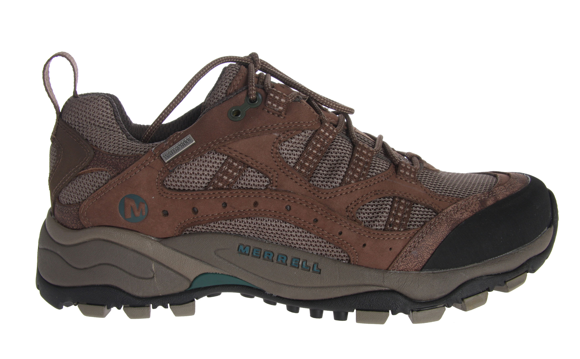 Camp and Hike The beauty and breathable ease of this waterproof trail finder, combined with a rock-solid wider platform and stride-supportive QForm comfort, will keep your feet dry and your spirits high in the mountains. A combination upper for keeping moisture and random rocks out, and a durable, recycled PU footbed ensure the trip goes smoothly from the trailhead to the top.Key Features of the Merrell Pandora Ventilator Hiking Shoes: Strobel construction offers flexibility and comfort Nubuck leather and mesh upper Bellows tongue keeps debris out Abrasion resistant toe cap Waterproof Membrane treated with an antimicrobial solution provides impermeable but breathable barrier Breathable mesh lining treated with an antimicrobial solution maintains foot comfort Recycled Poliyou footbed with active carbon to control moisture and ensures breathability Molded nylon arch shank QForm Comfort midsole provides women's specific stride-sequenced cushioning Merrell Air Cushion in the heel absorbs shock and adds stability 5.0mm sole lug depth Vibram Pandora Sole/TC5+ Rubber - $69.95