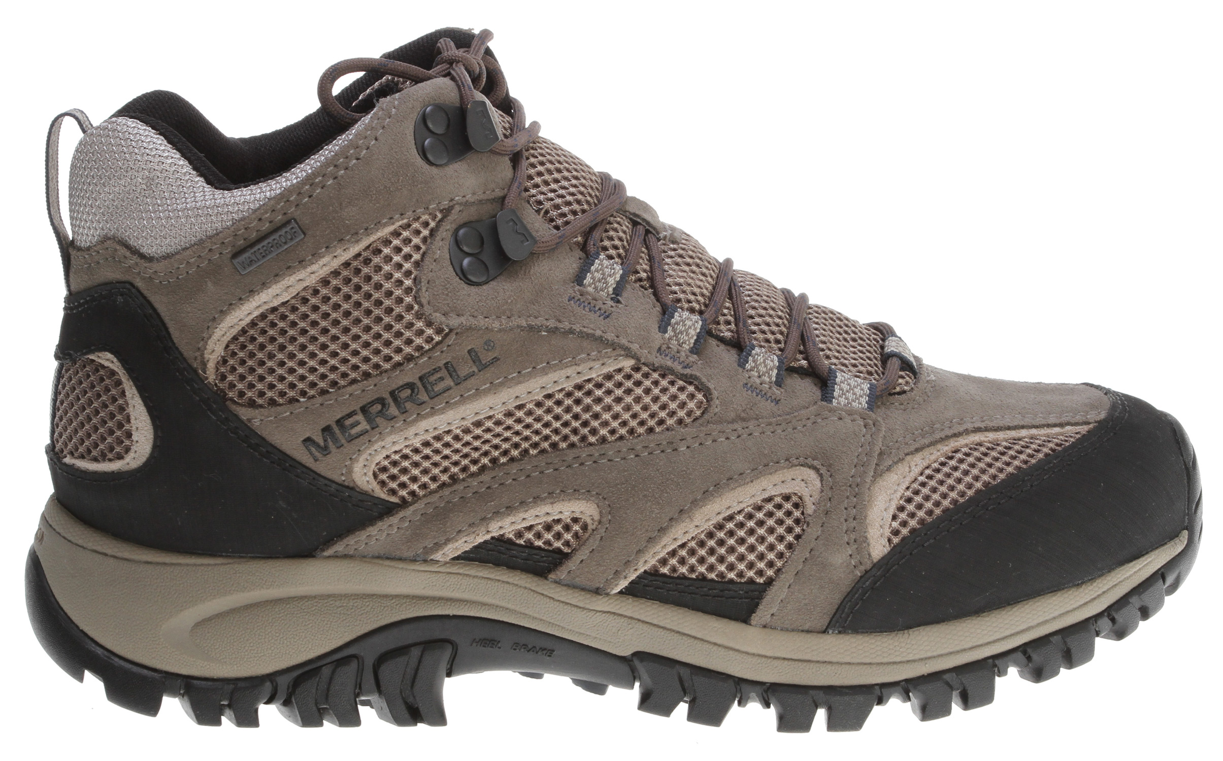 Camp and Hike Enjoy fleet feet for your explorations with these low profile multisport shoes: plenty of support and cushioning - without the weight. With a flexible sole and supportive arch shank, this waterproof mid will keep your feet dry and comfortable. Lightweight cow suede/mesh upper with bellows tongue keeps out debris.Key Features of the Merrell Phoenix Mid Waterproof Hiking Shoes: Strobel construction offers flexibility and comfort Cow suede and mesh upper Mid cut upper Bellows tongue keeps debris out Abrasion resistant toe cap and heel Waterproof membrane treated with Aegis® antimicrobial solution provides a impermeable yet breathable barrier. Mesh lining treated with Aegis® antimicrobial solution Molded nylon arch shank Merrell air cushion in the heel absorbs shock and adds stability with an EVA midsole for cushioning Merrell Kamet Sole/ Sticky Rubber Men's Weight: 2lbs 2 ozs - $69.95