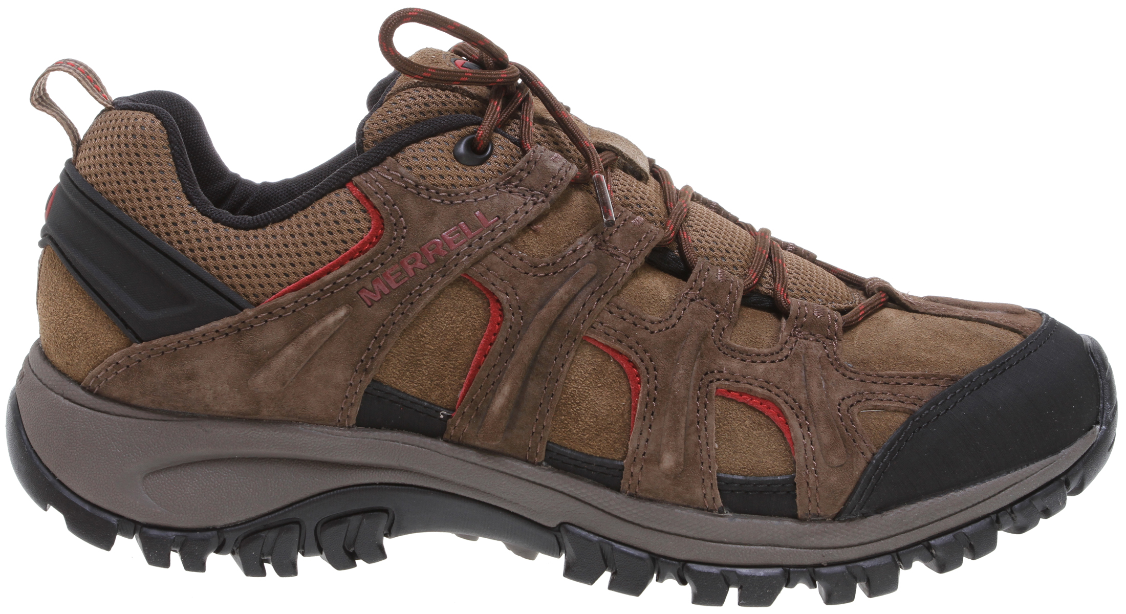 Camp and Hike This breathable do-it-all hiker knows the diverse paths your busy life takes, giving you versatile comfort and performance for every turn. The breathable, anti-odor mesh upper with bellows tongue keeps feet dry and pebbles out. The flexible sole with heel cushioning fits perfectly and feels great no matter where you roam.Key Features of the Merrell Phoenix Trek Hiking Shoes: Strobel construction Pig, Cow suede and mesh upper Bellows tongue keeps debris out Breathable mesh lining treated with Aegis Molded nylon arch shank Merrell air cushion in the heel absorbs shock and adds stability with an EVA midsole for cushioning 4mm sole lug depth Merrell Phoenix Sole / Sticky Rubber Men's Weight: 1lb 14 oz - $55.95